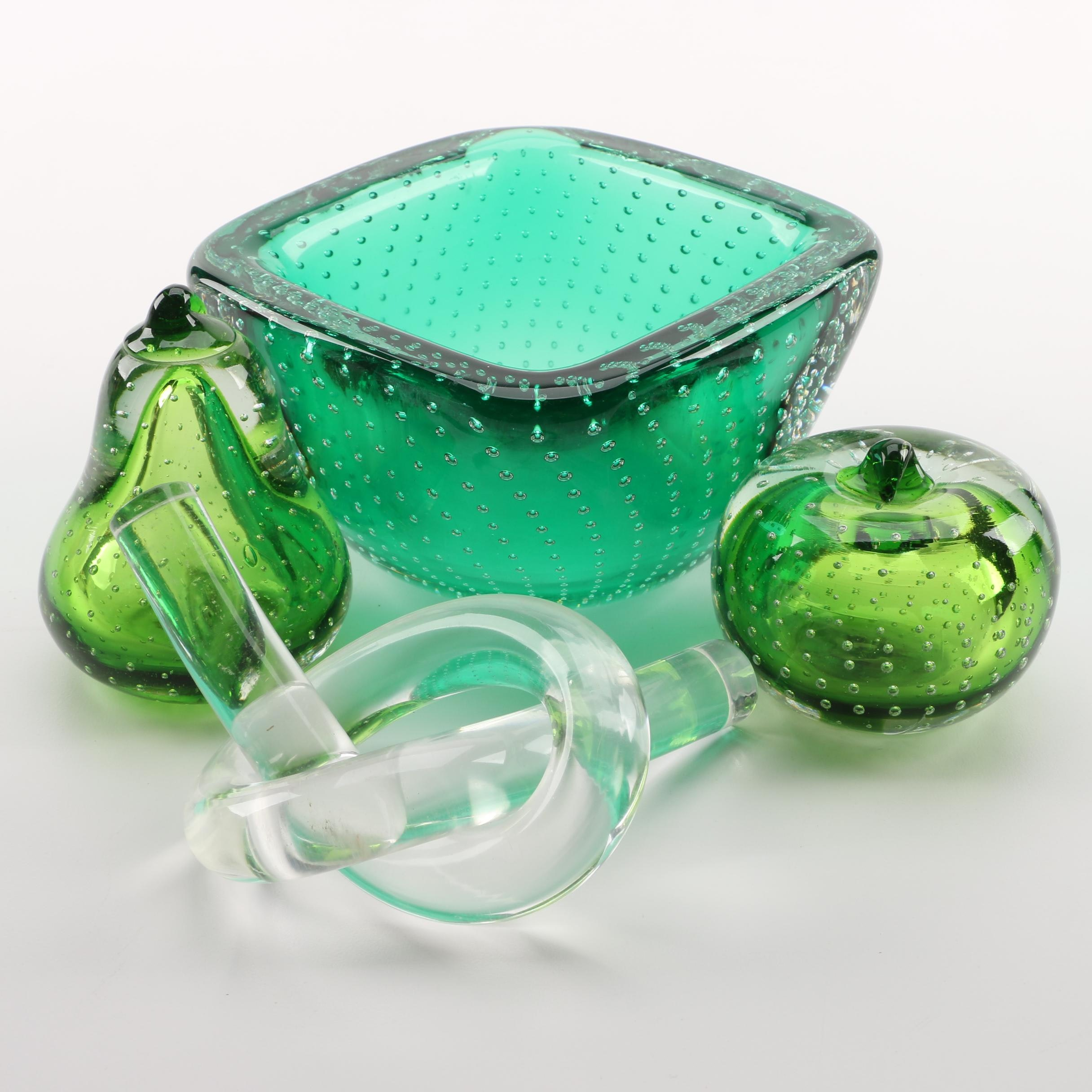 Blown Glass Bullicante Paperweights and Bowl with Knot Sculpture
