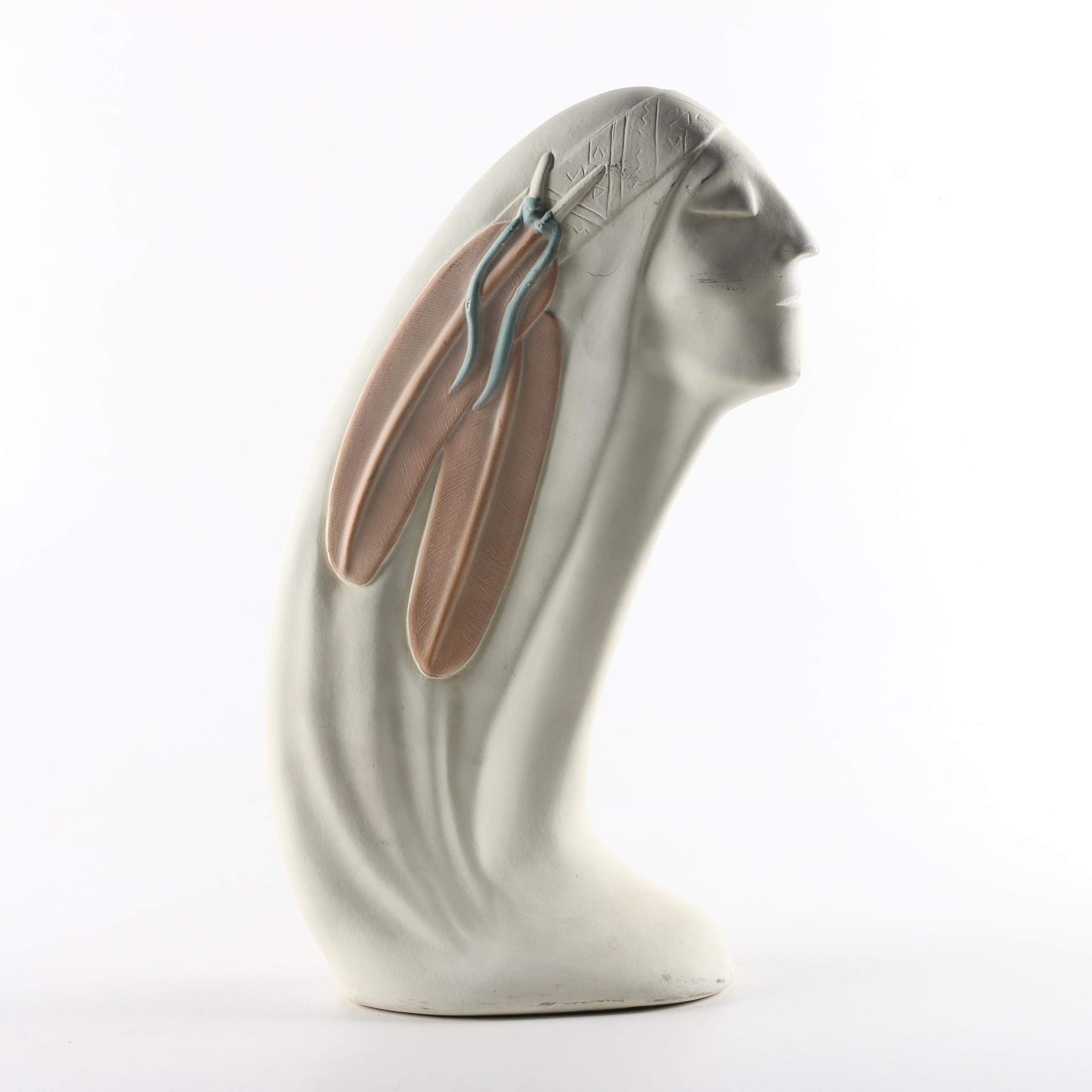 Hózhó Ceramic Bust of Figure with Headband and Feathers
