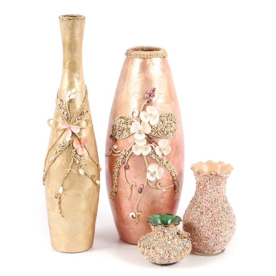 Seashell Decorated Vases Ebth