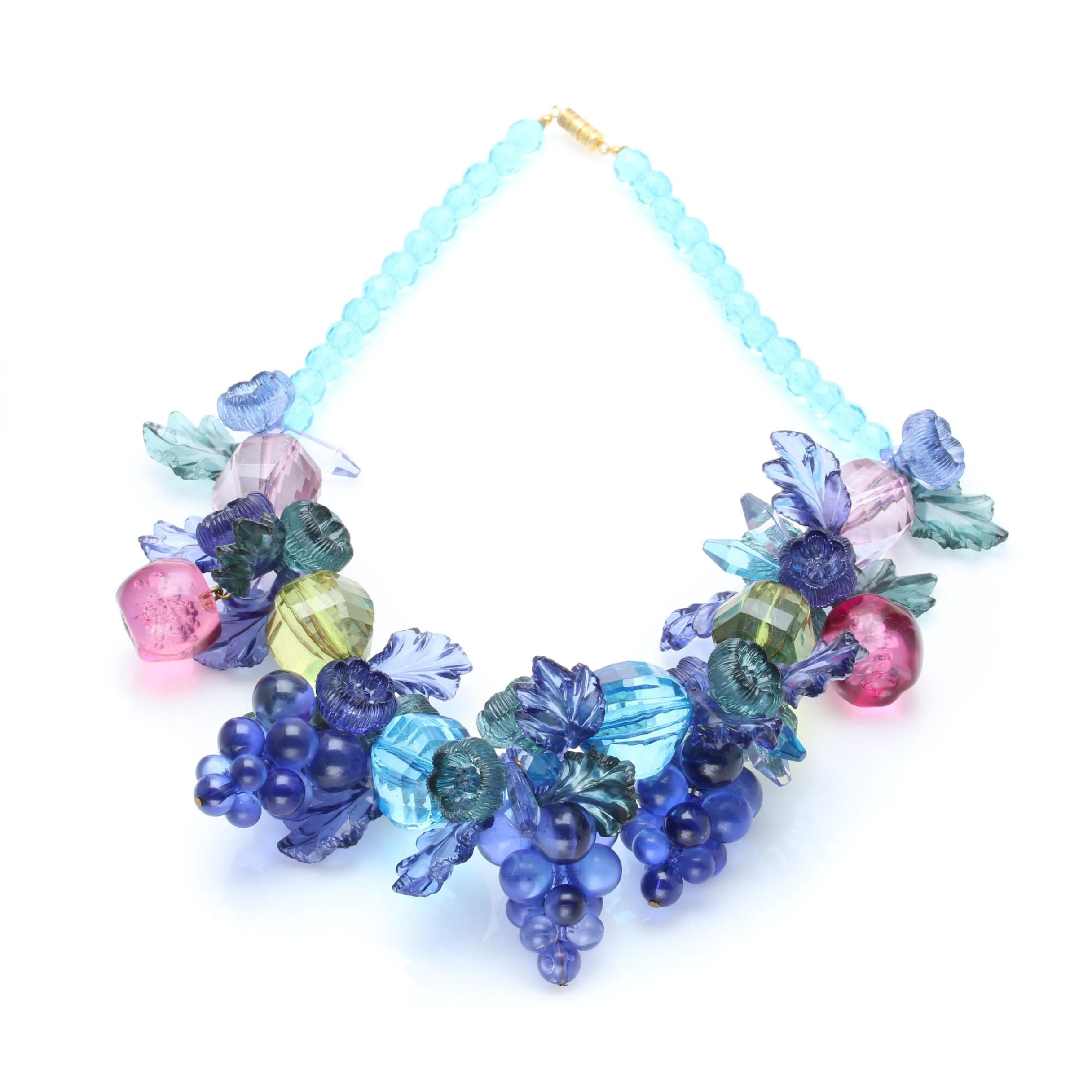 Plastic Grape Clusters and Apples Beaded Necklace