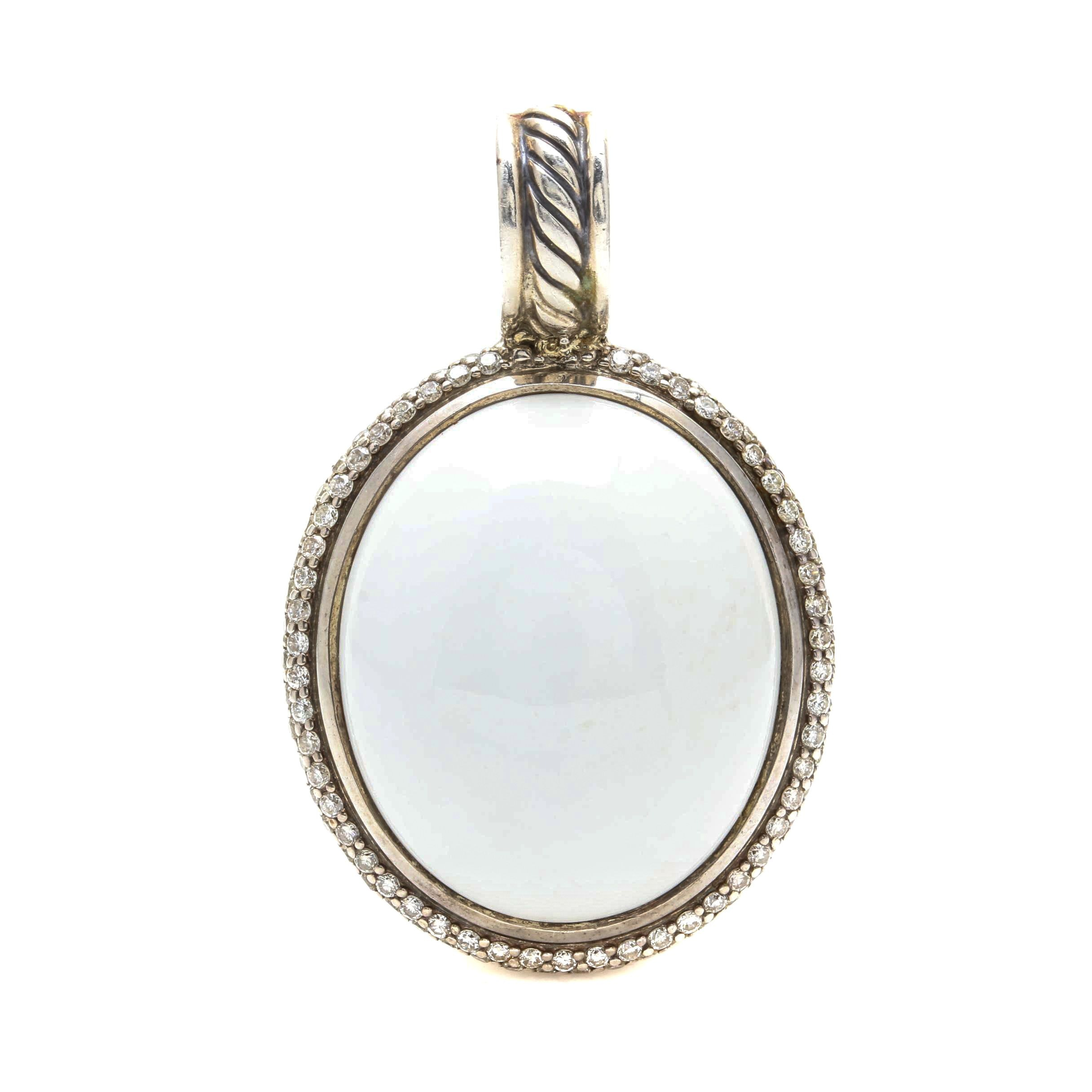 David Yurman Sterling Silver White Onyx and Diamond Pendant