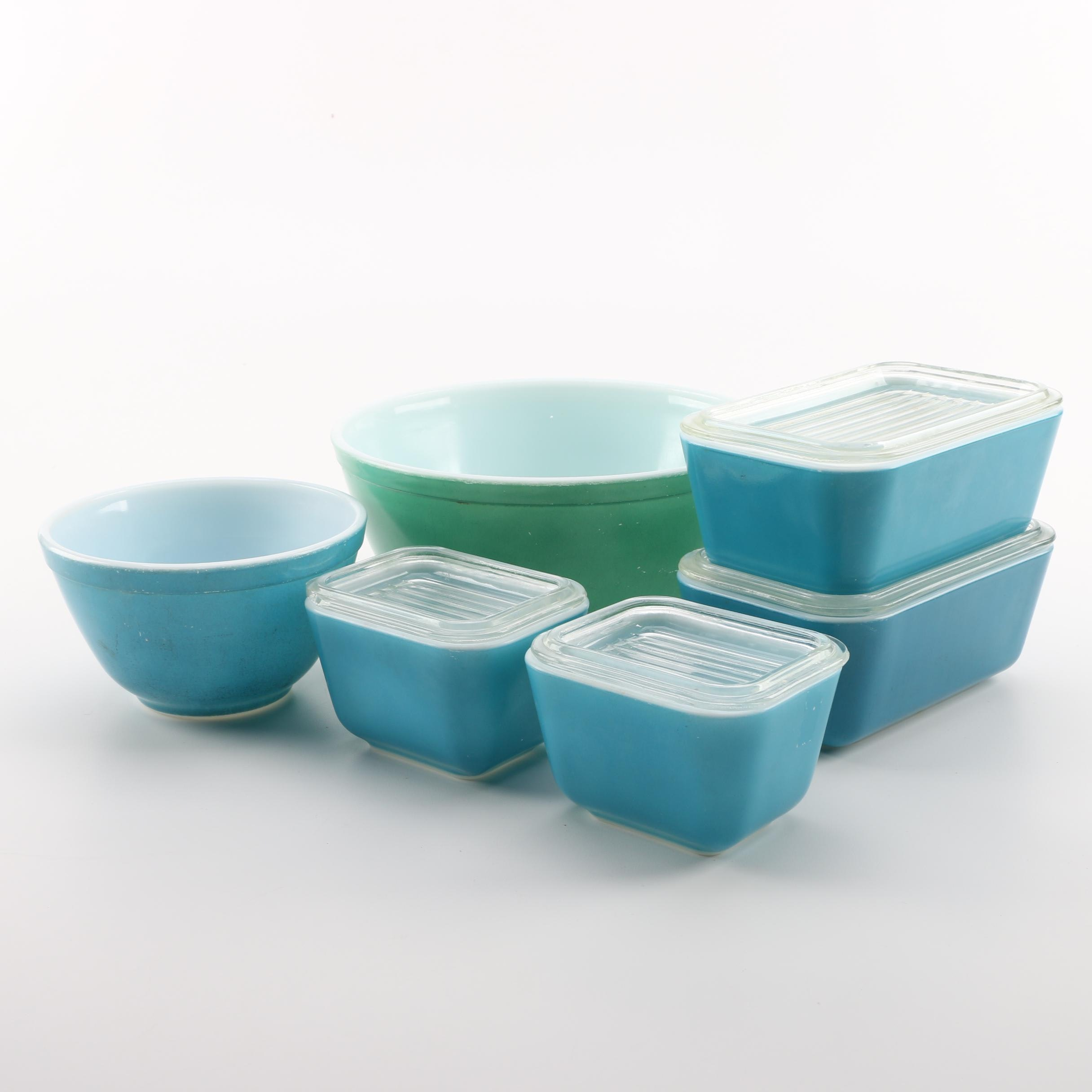 "Pyrex ""Primary Colors"" Mixing Bowls and Blue Refrigerator Dishes with Lids 1940s"