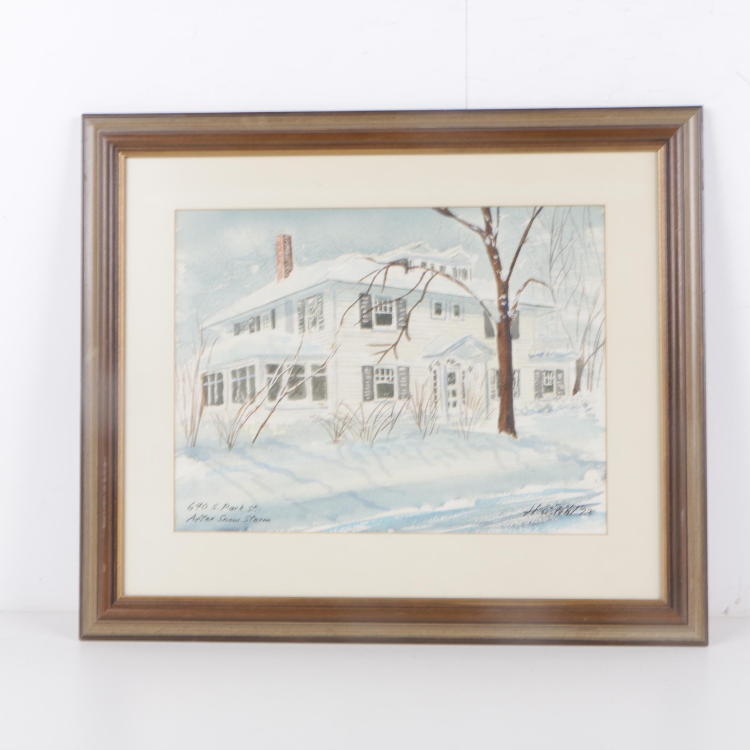 "H. C. Pihl Watercolor Painting ""640 S. Park St. After Snow Storm"""