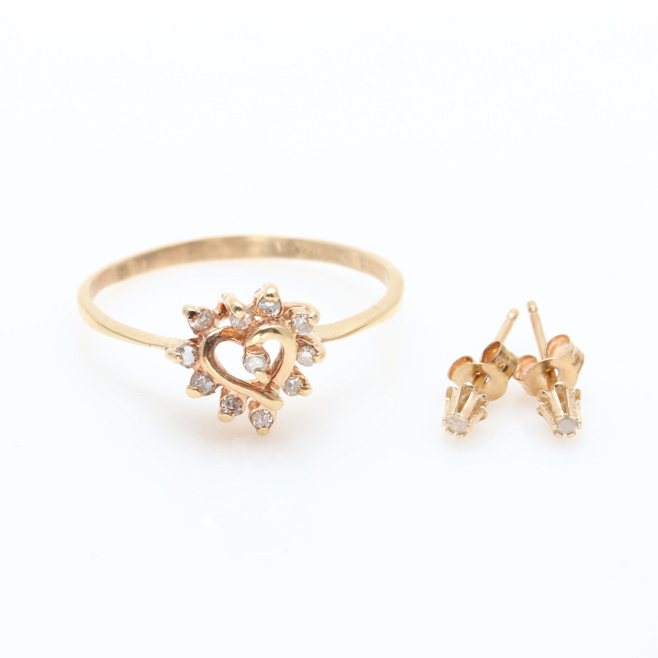 14K Yellow Gold Diamond Heart Ring and Stud Earrings
