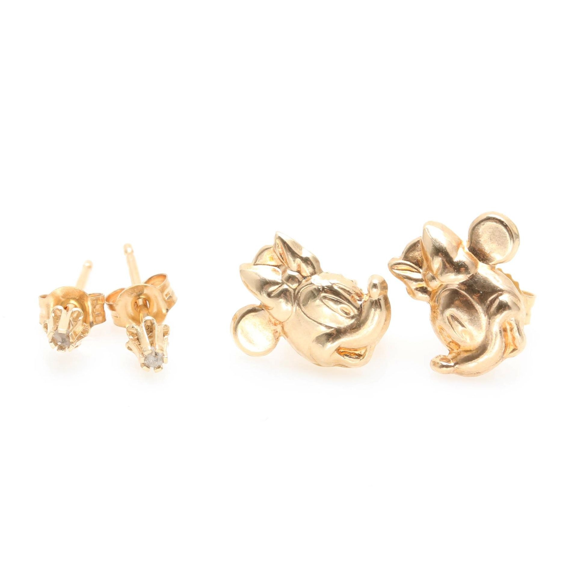 14K Yellow Gold Minnie Mouse Earrings and Diamond Stud Earrings