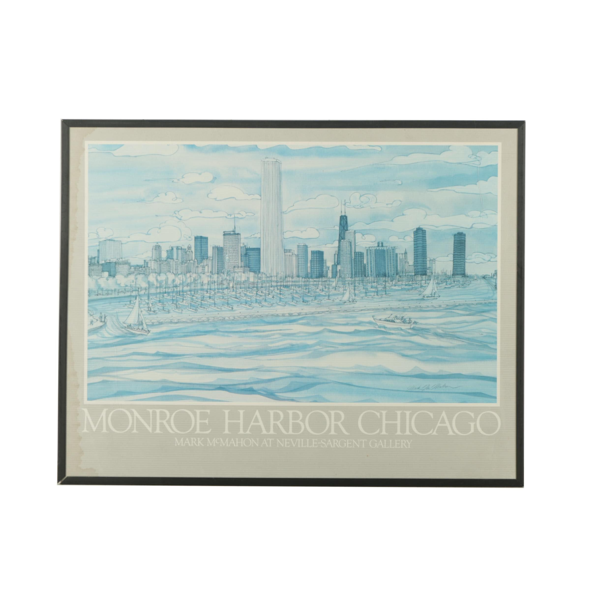 """Neville-Sargent Exhibition Poster After Mark McMahon's """"Monroe Harbor Chicago"""""""