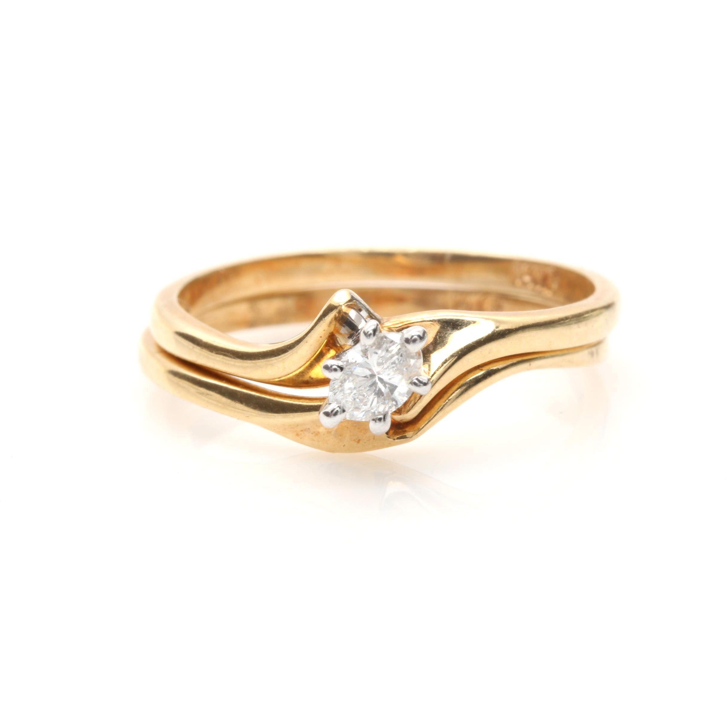 14K Yellow Gold Diamond Nesting Rings