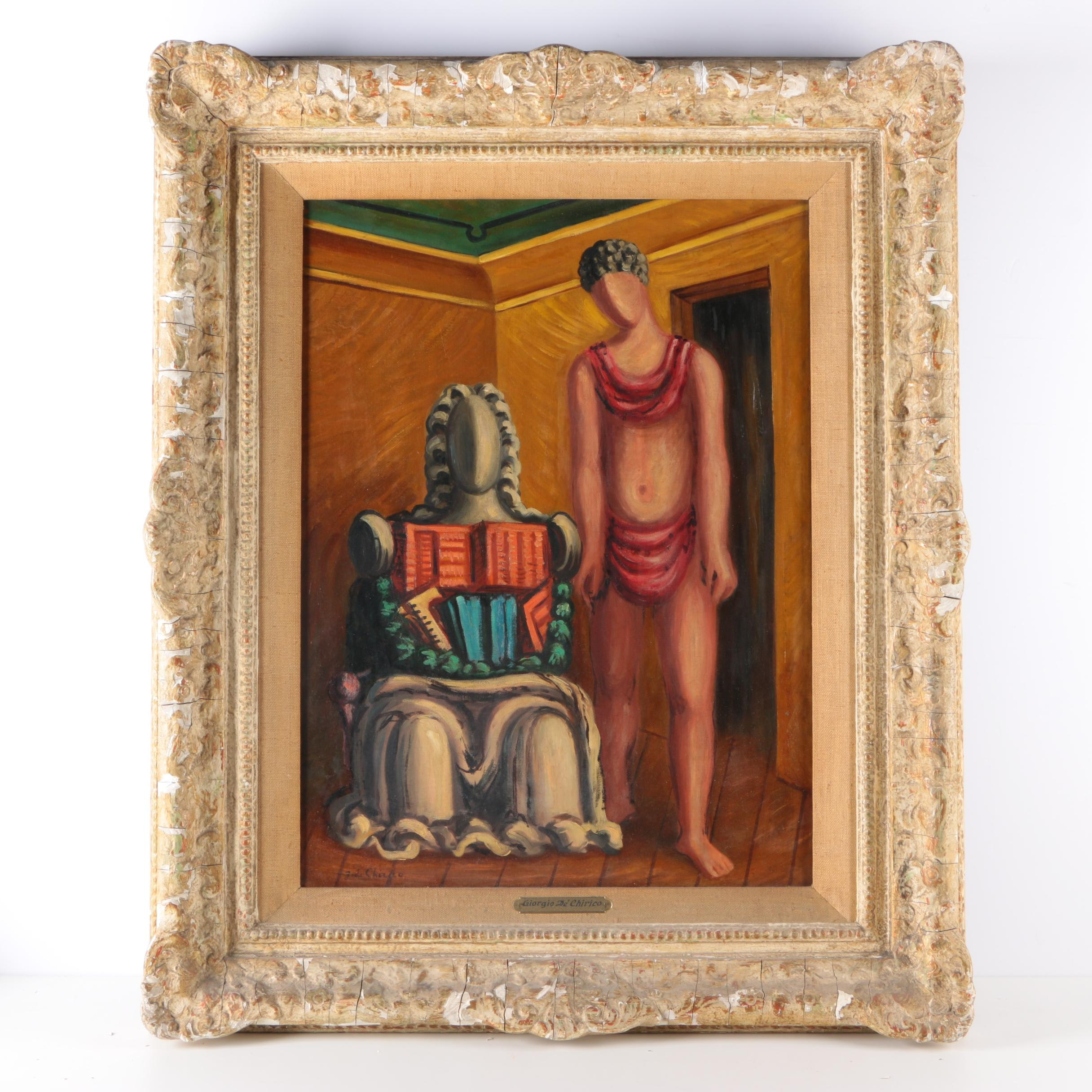 Oil Painting on Canvas in the Style of Giorgio De Chirico