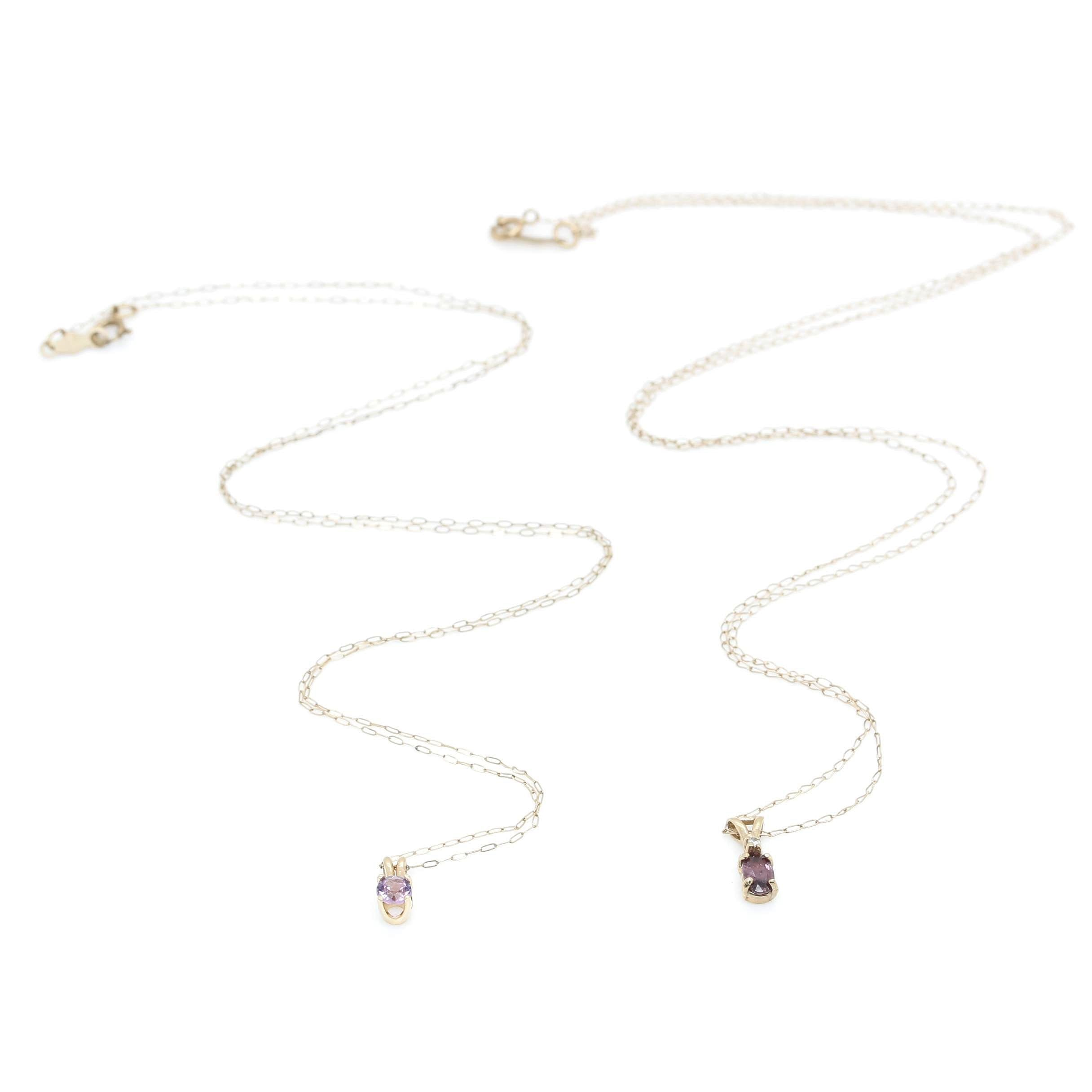 10K and 14K Yellow Gold Amethyst, Ruby and Diamond Necklaces