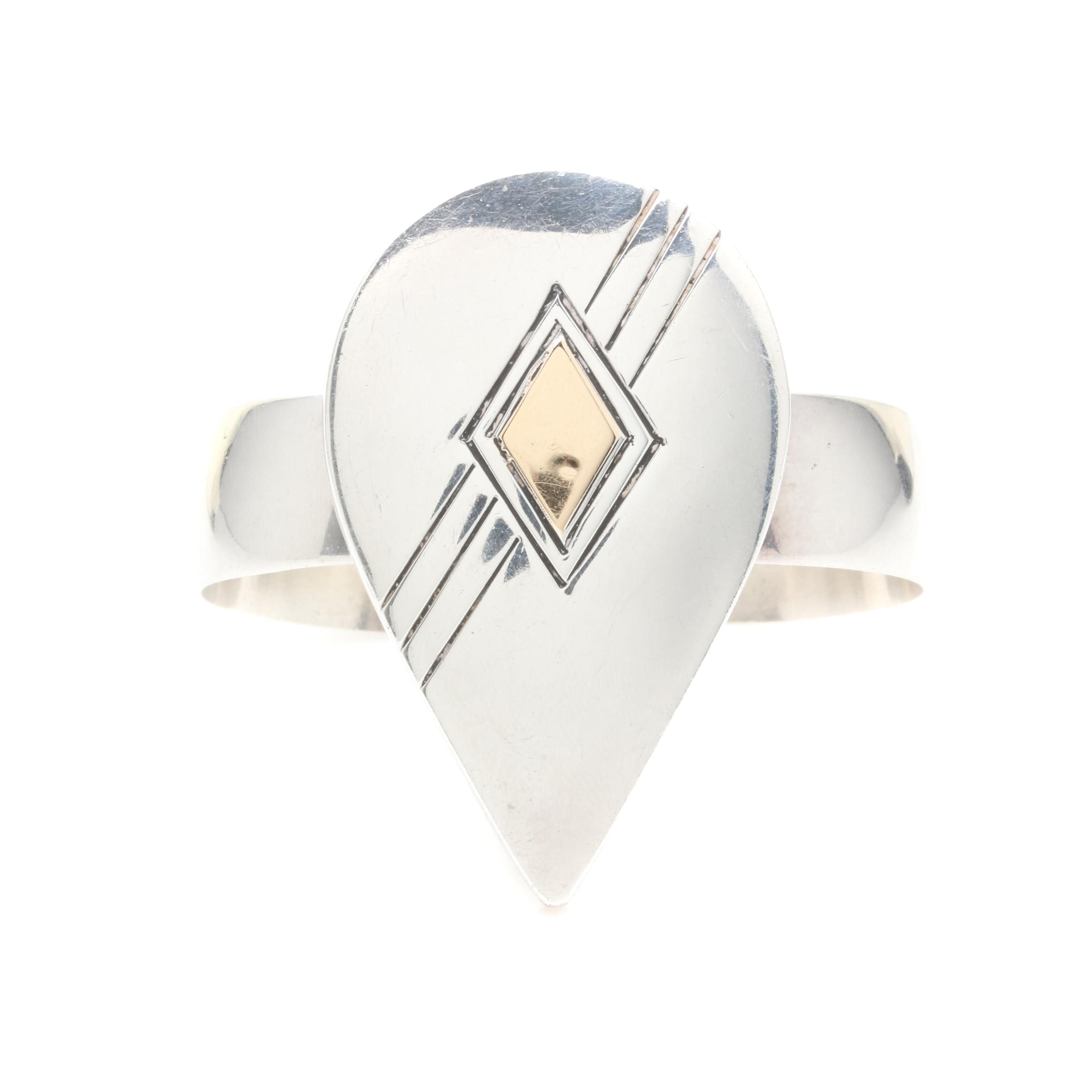 Gilbert Ortega Sterling Silver Adjustable Cuff Bangle with 14K Gold Accents