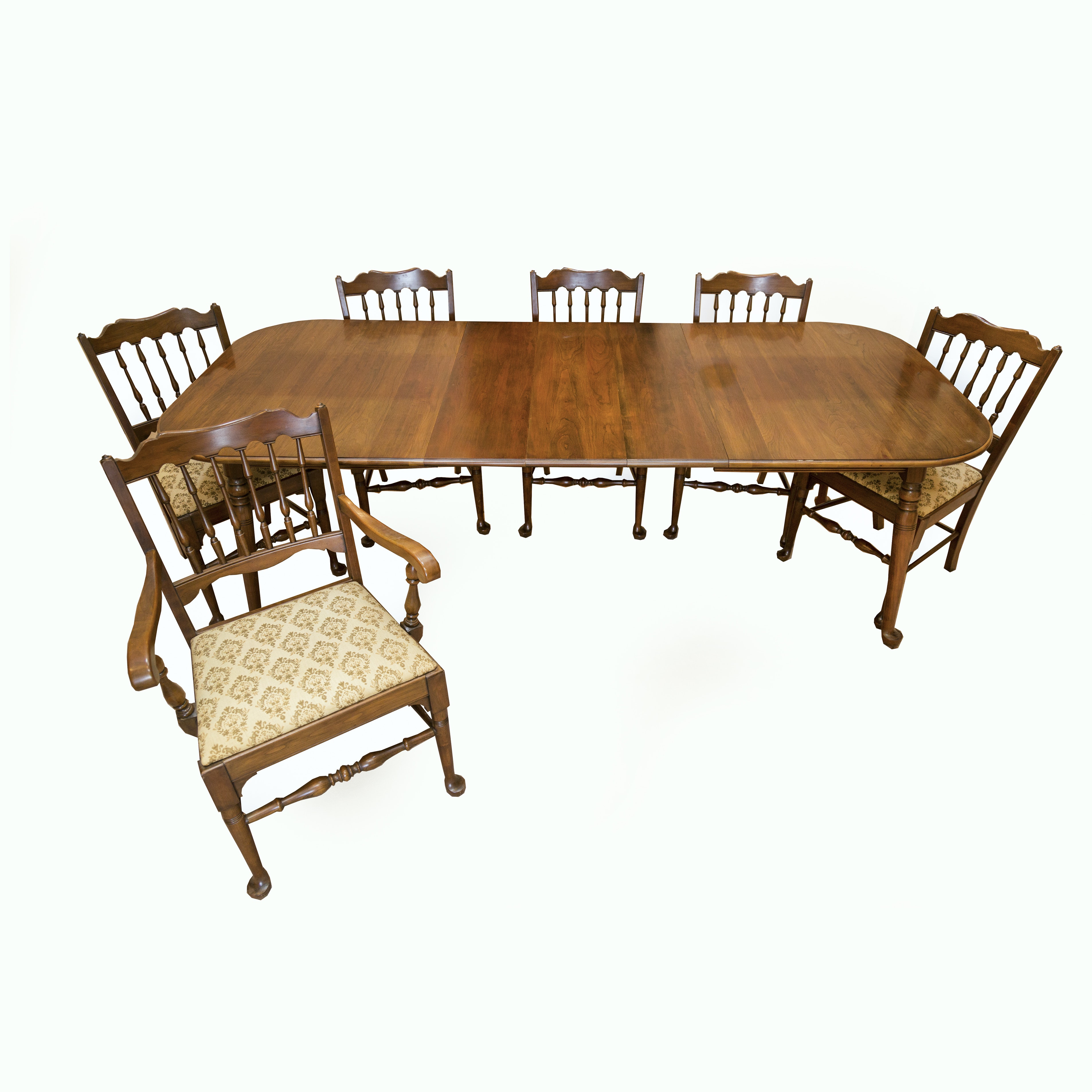 Vintage Queen Anne-Style Cherry Dining Table and Six Chairs