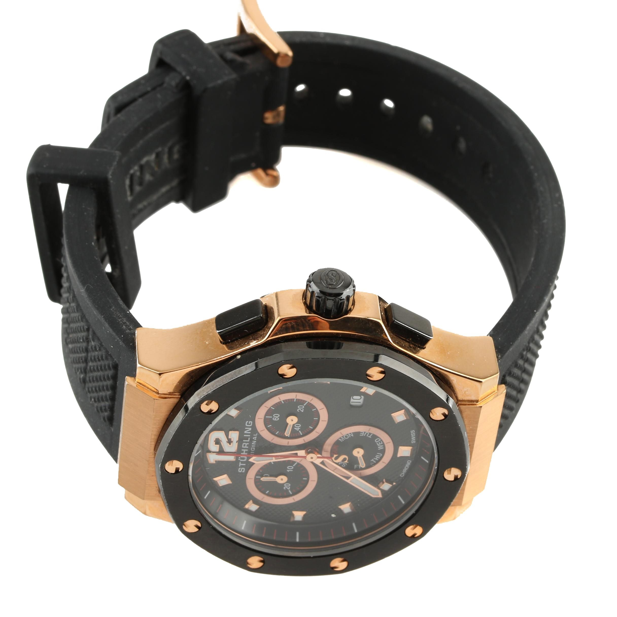 Stührling Original Rose Tone Stainless Steel and Rubber Chronograph Wristwatch