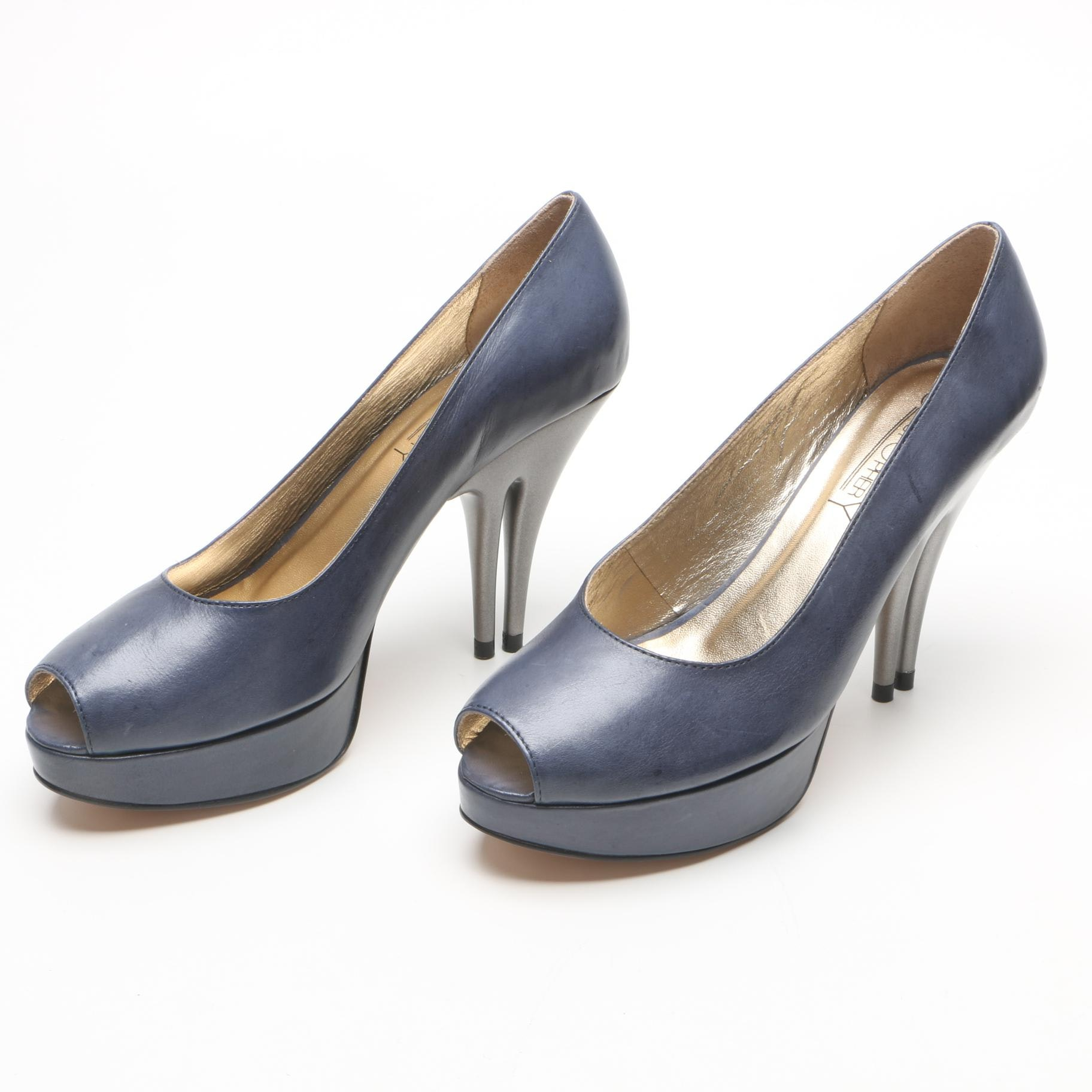 Christopher Coy Dual Heeled Blue Leather Peep-Toe Platform Pumps