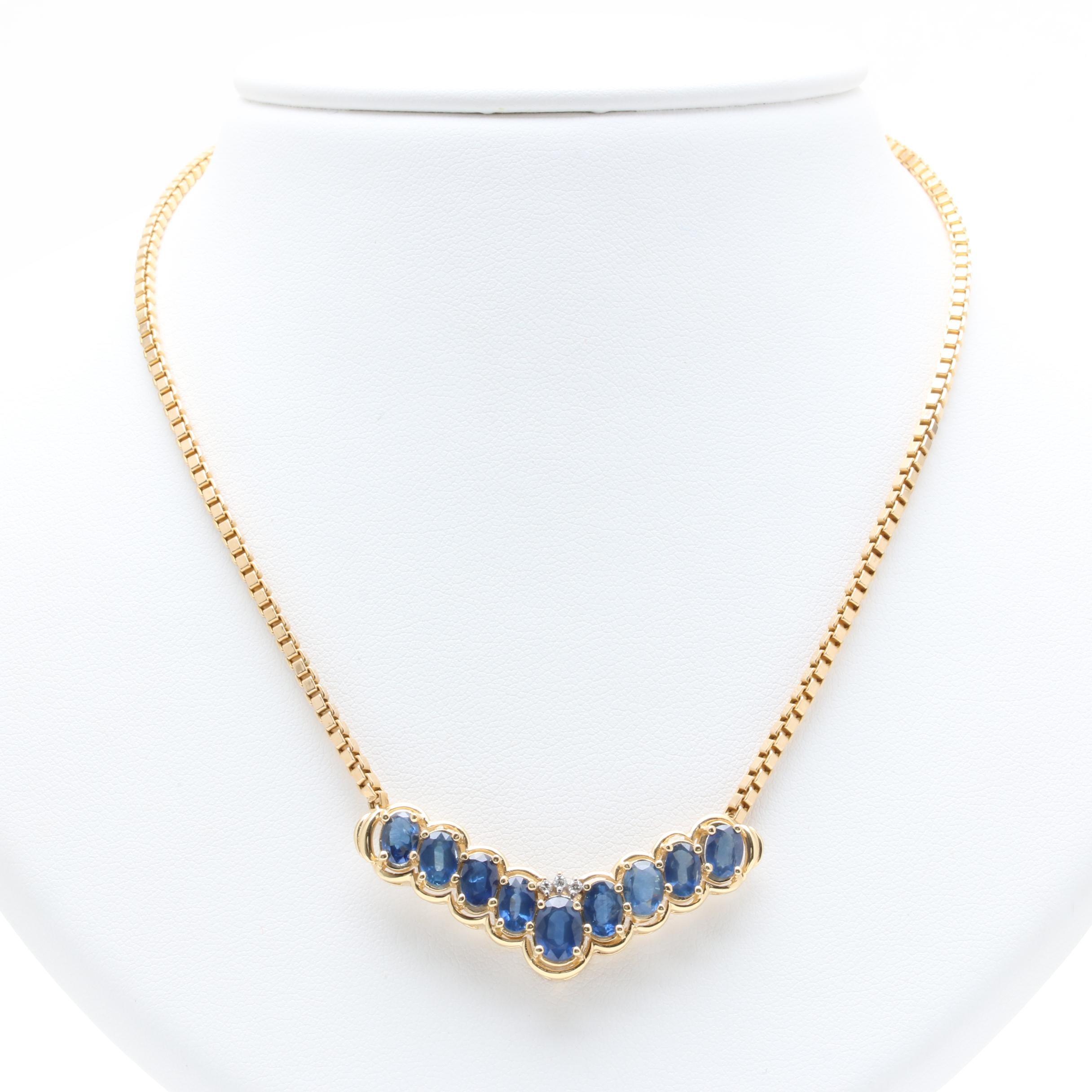 Milor 14K Yellow Gold Blue Sapphire Diamond Necklace