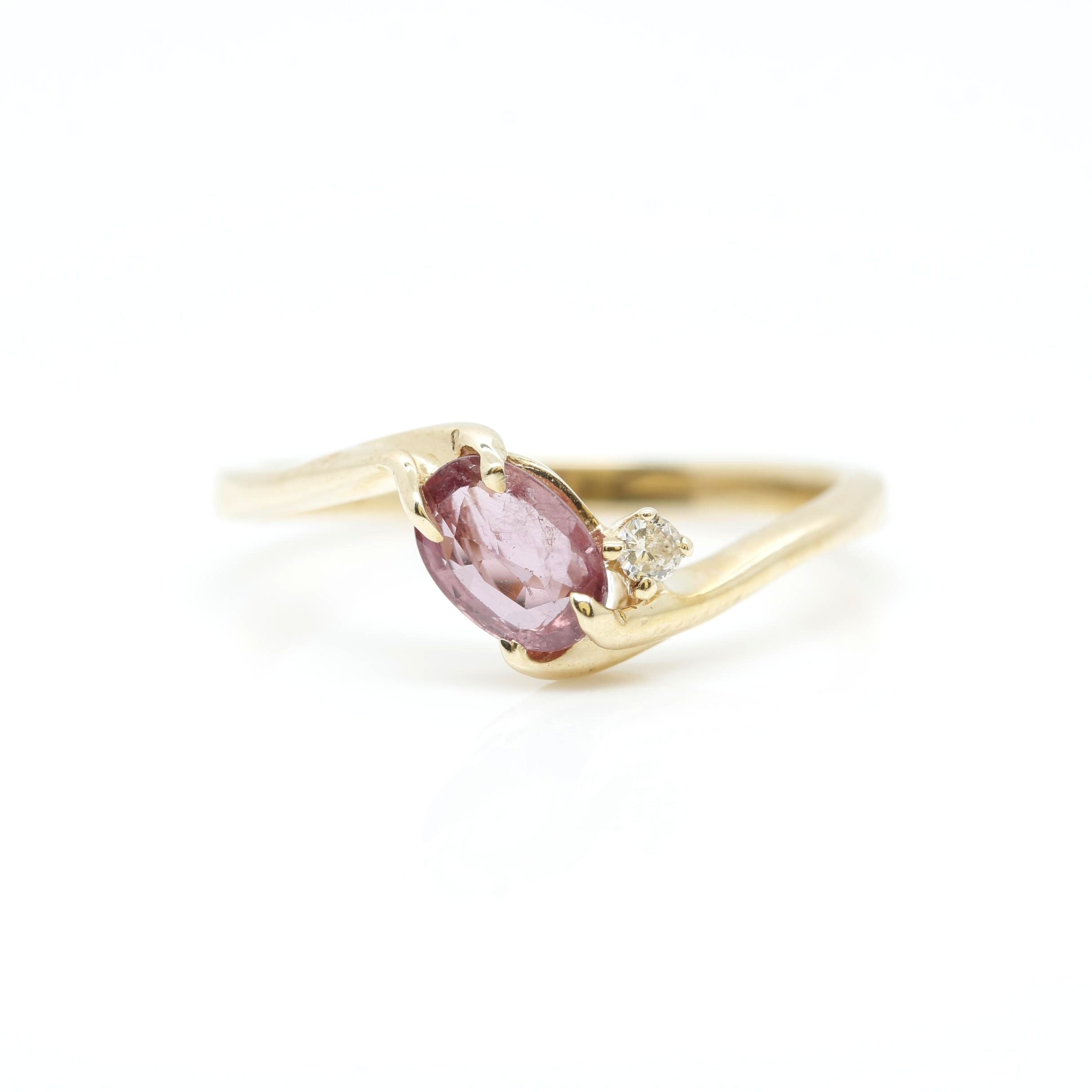 10K Yellow Gold Pink Sapphire and Diamond Ring