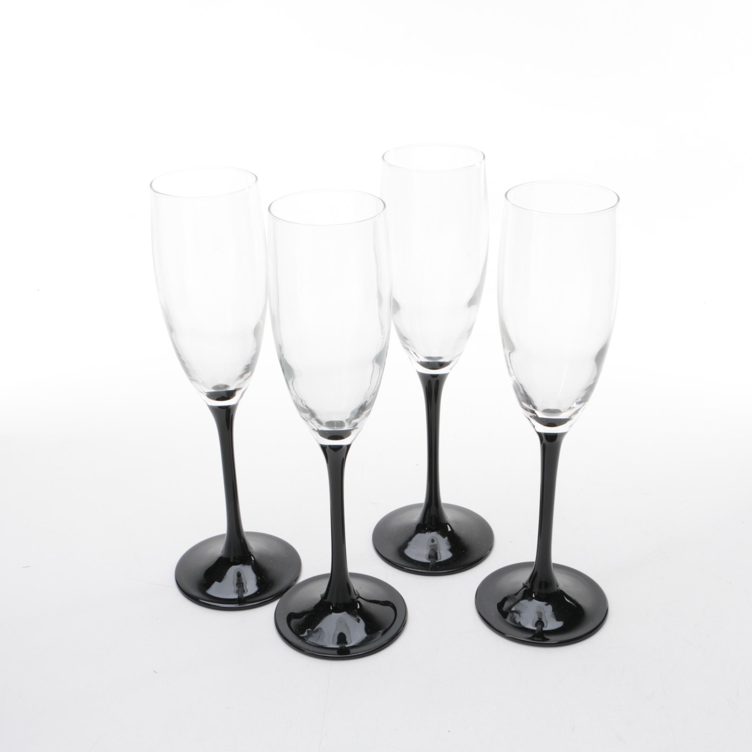 "Luminarc ""Nocturne"" Champagne Flutes"
