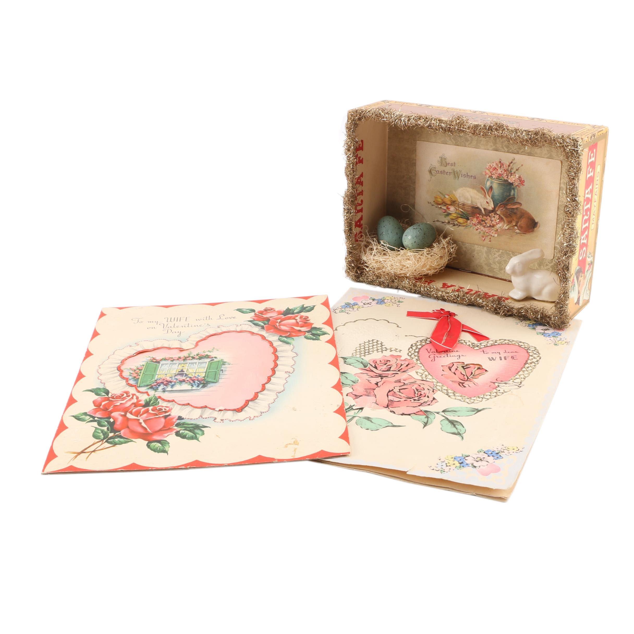 Vintage Valentine's Day and Handmade Easter Vignette Decor