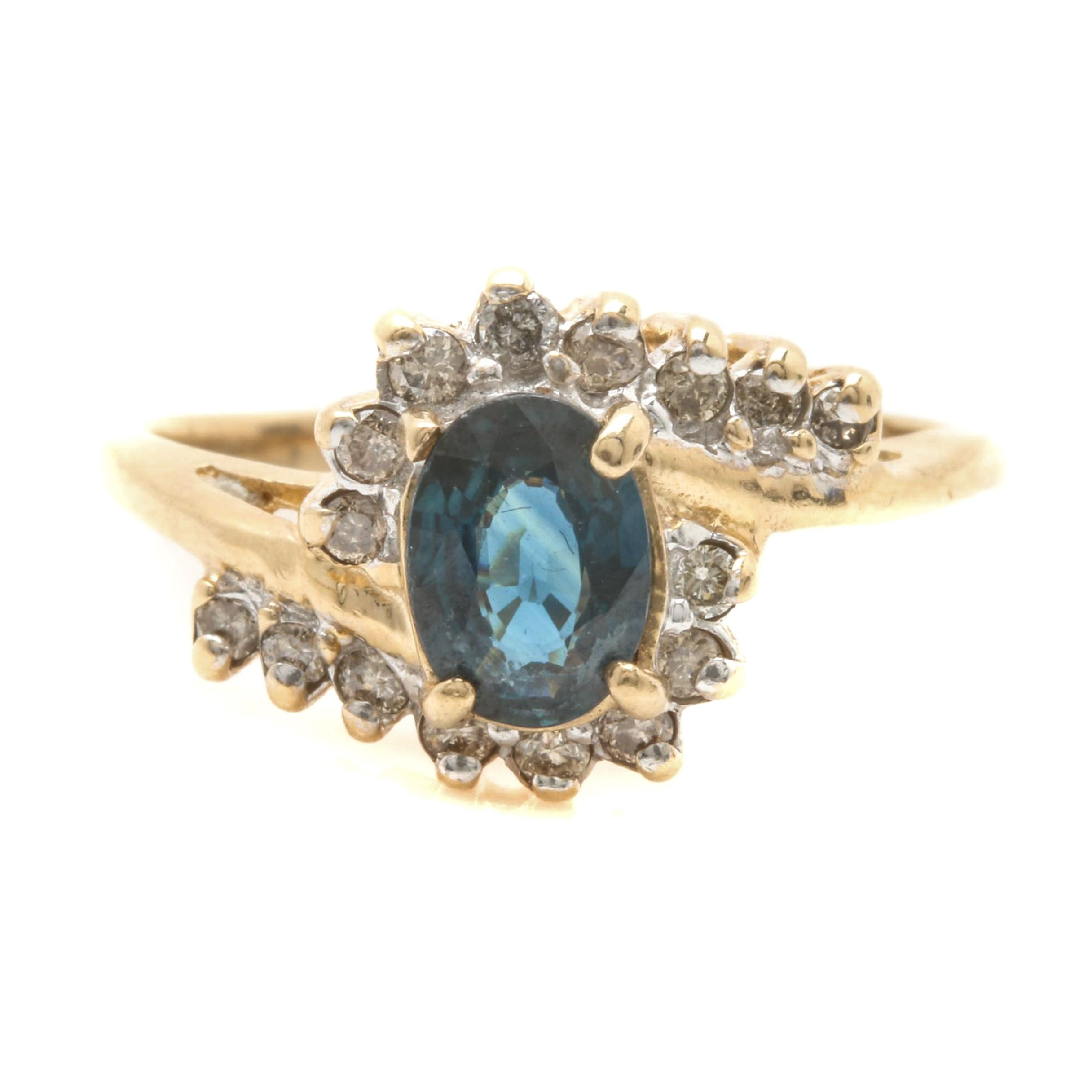 10K Yellow Gold Blue Sapphire and Diamond Bypass Ring