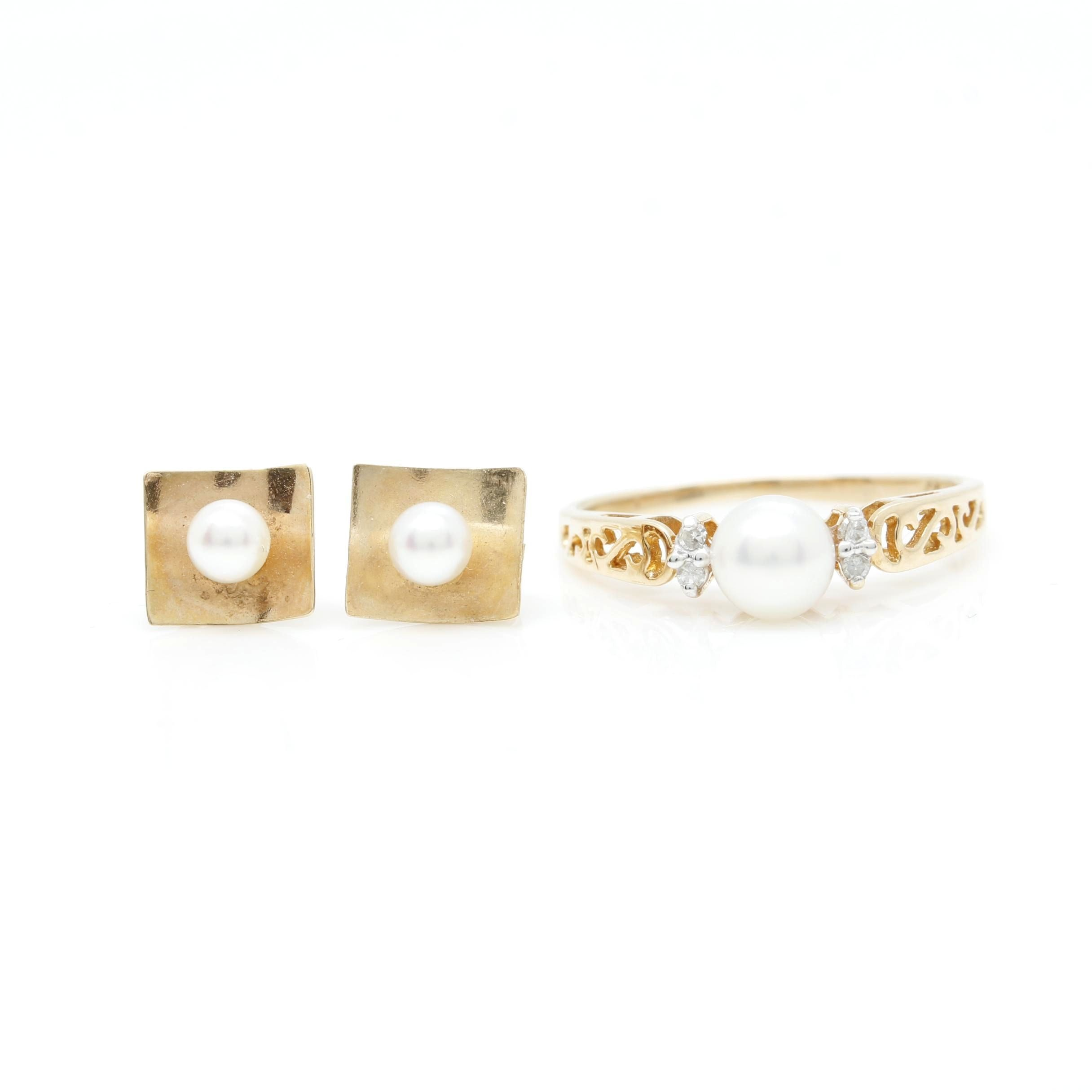 14K Yellow Gold Cultured Pearl and Diamond Ring with Cultured Pearl Earrings