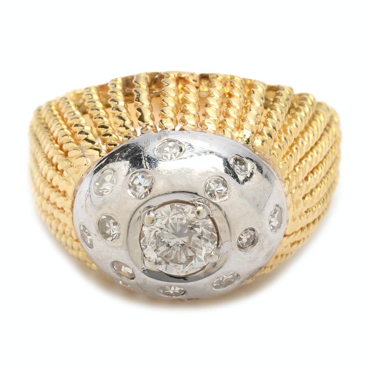 14K Two Tone Gold 0.96 CTW Diamond Ring