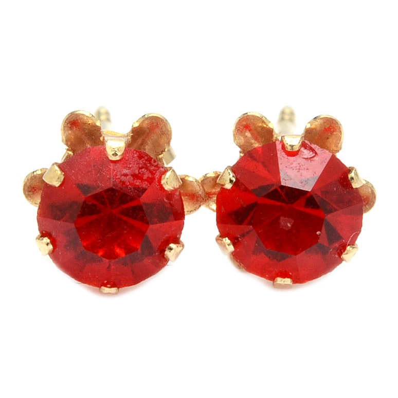 14K Yellow Gold Red Glass Stud Earrings