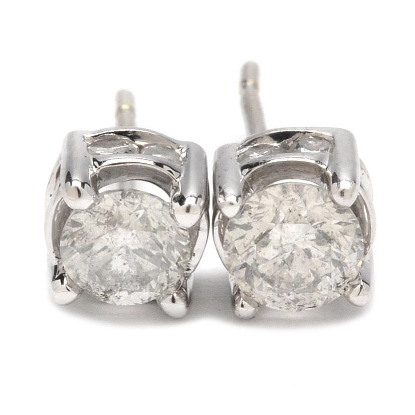14K White Gold 0.92 CTW Diamond Stud Earrings