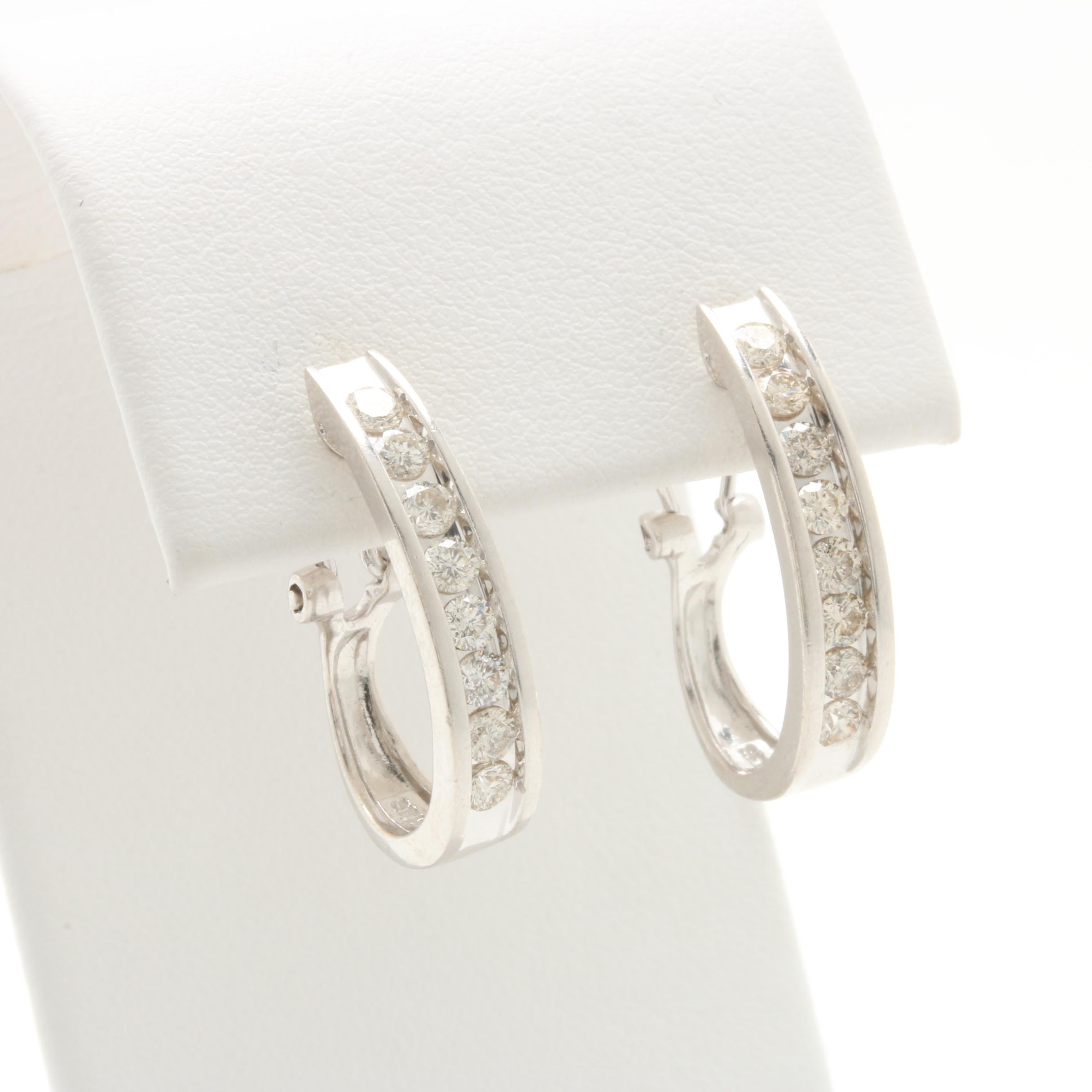 14K White Gold Diamond Elongated Hoop Earrings