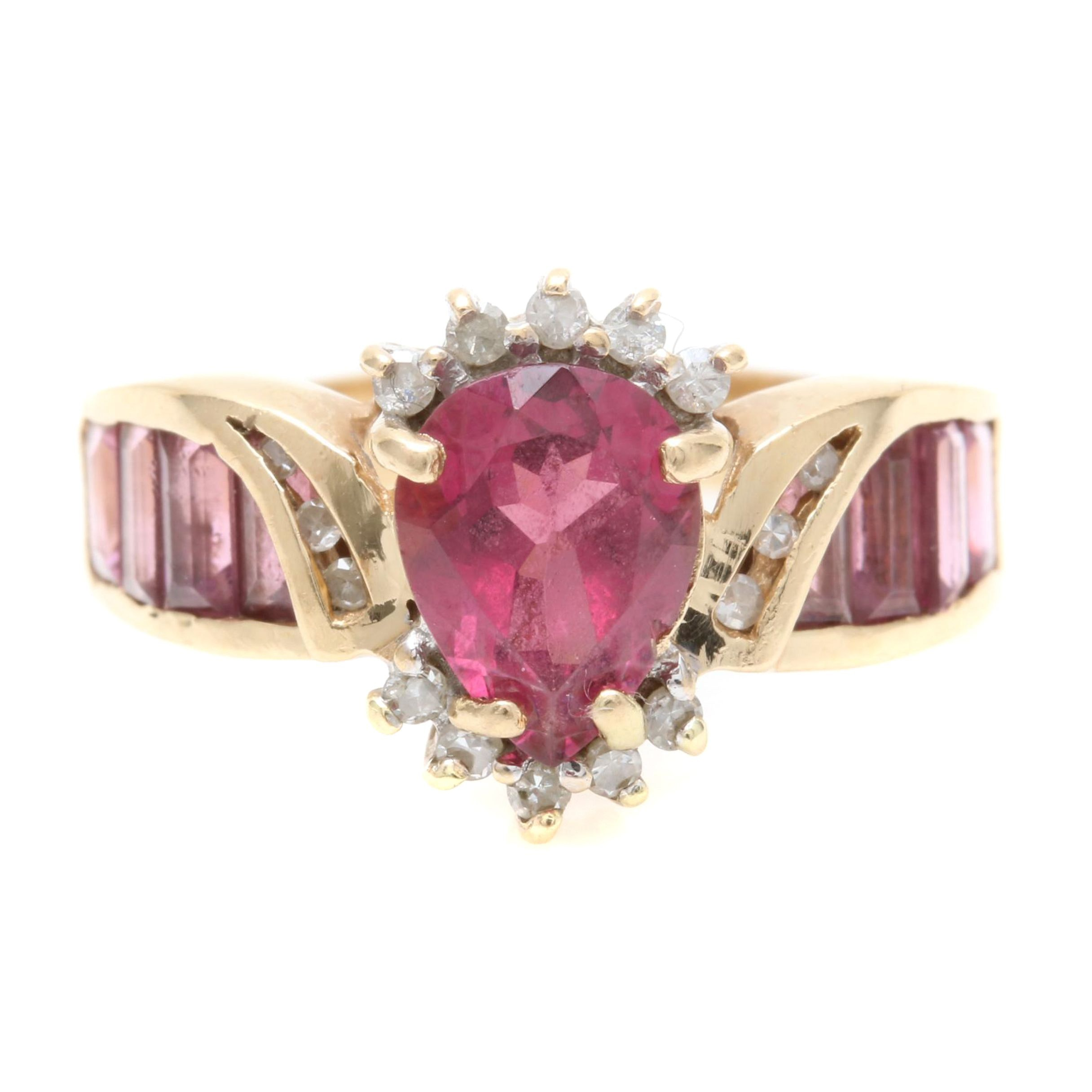 14K Yellow Gold Rhodolite Garnet and Diamond Ring