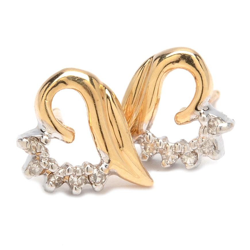 14K Yellow Gold Diamond Heart Shaped Earrings