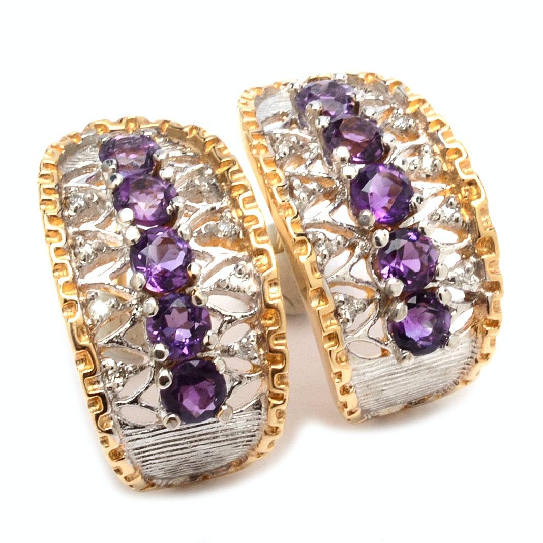 14K Two Tone Gold Diamond Amethyst and Diamond Earrings