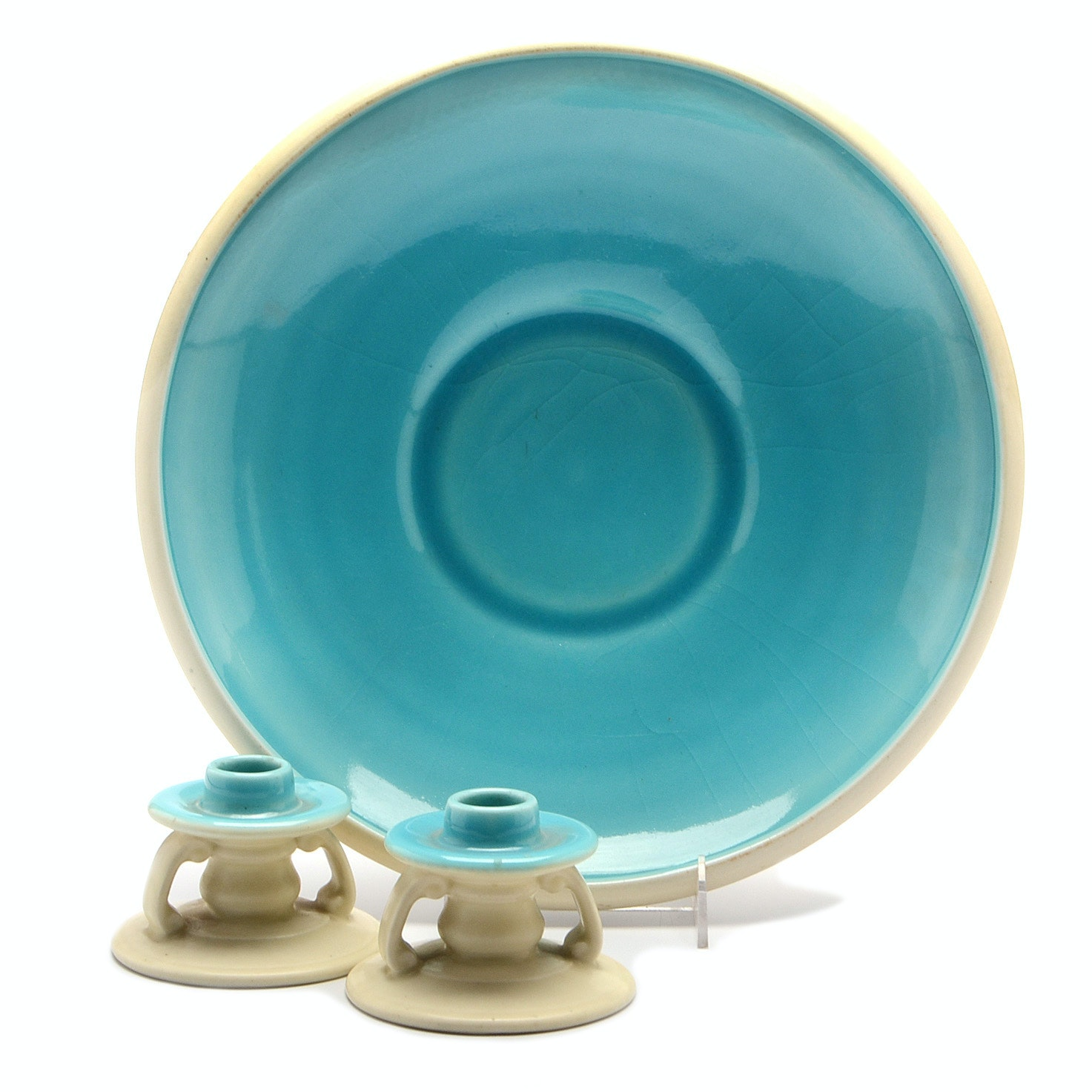 Rookwood Low Bowl and Candleholders in Cream and Aqua Low Glaze