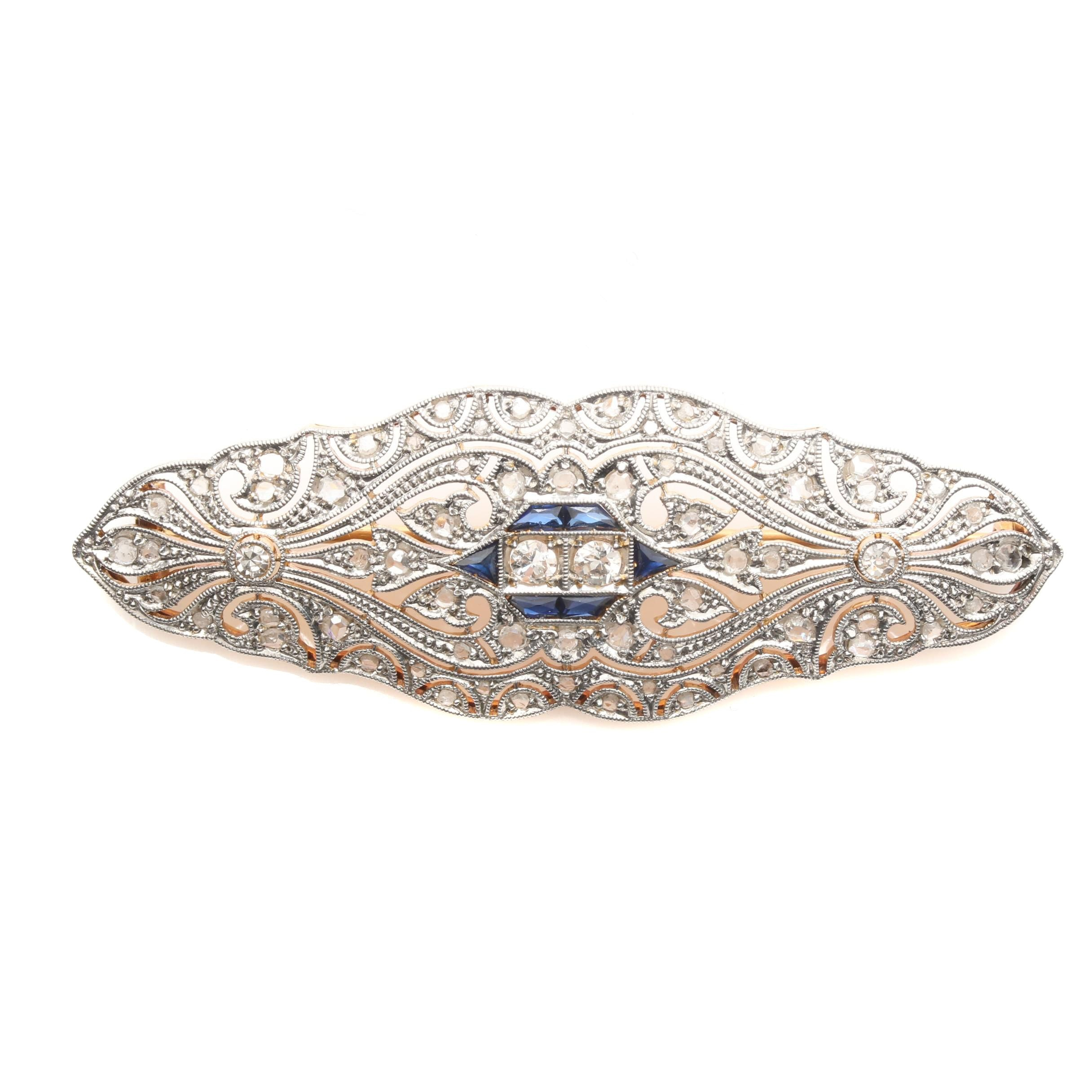 Early Art Deco 18K White Gold and Platinum Diamond and Synthetic Sapphire Brooch