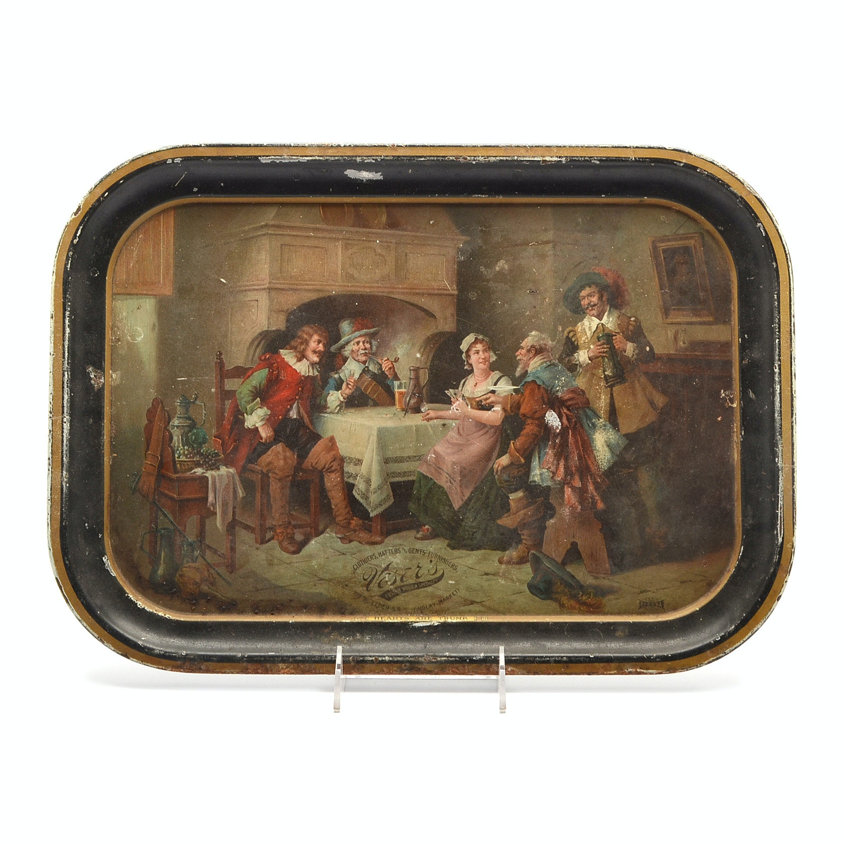 Vintage Veser's Clothiers Tin Advertising Serving Tray