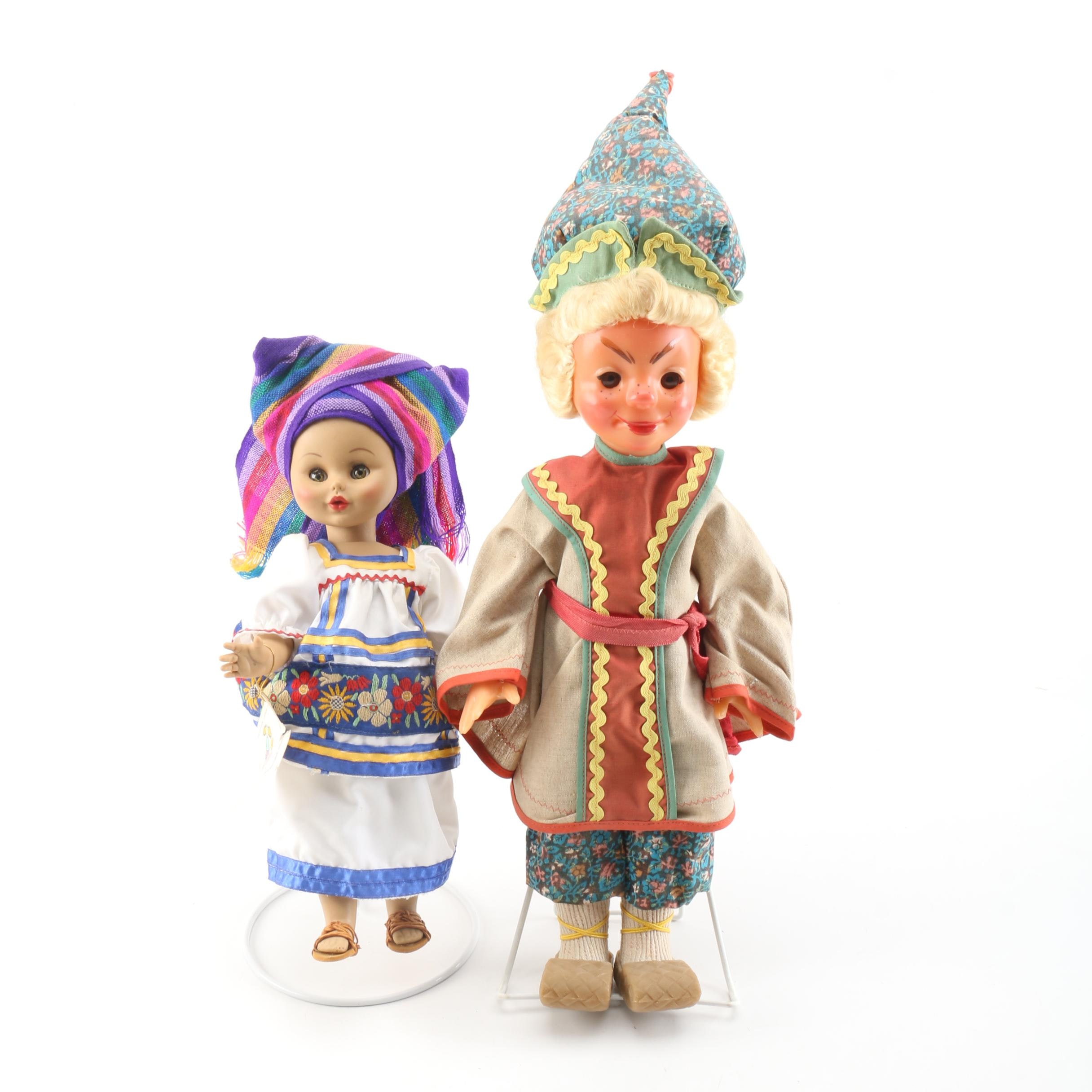 1990s Muñecas Eny Mexican Doll and Vintage Souvenir Doll