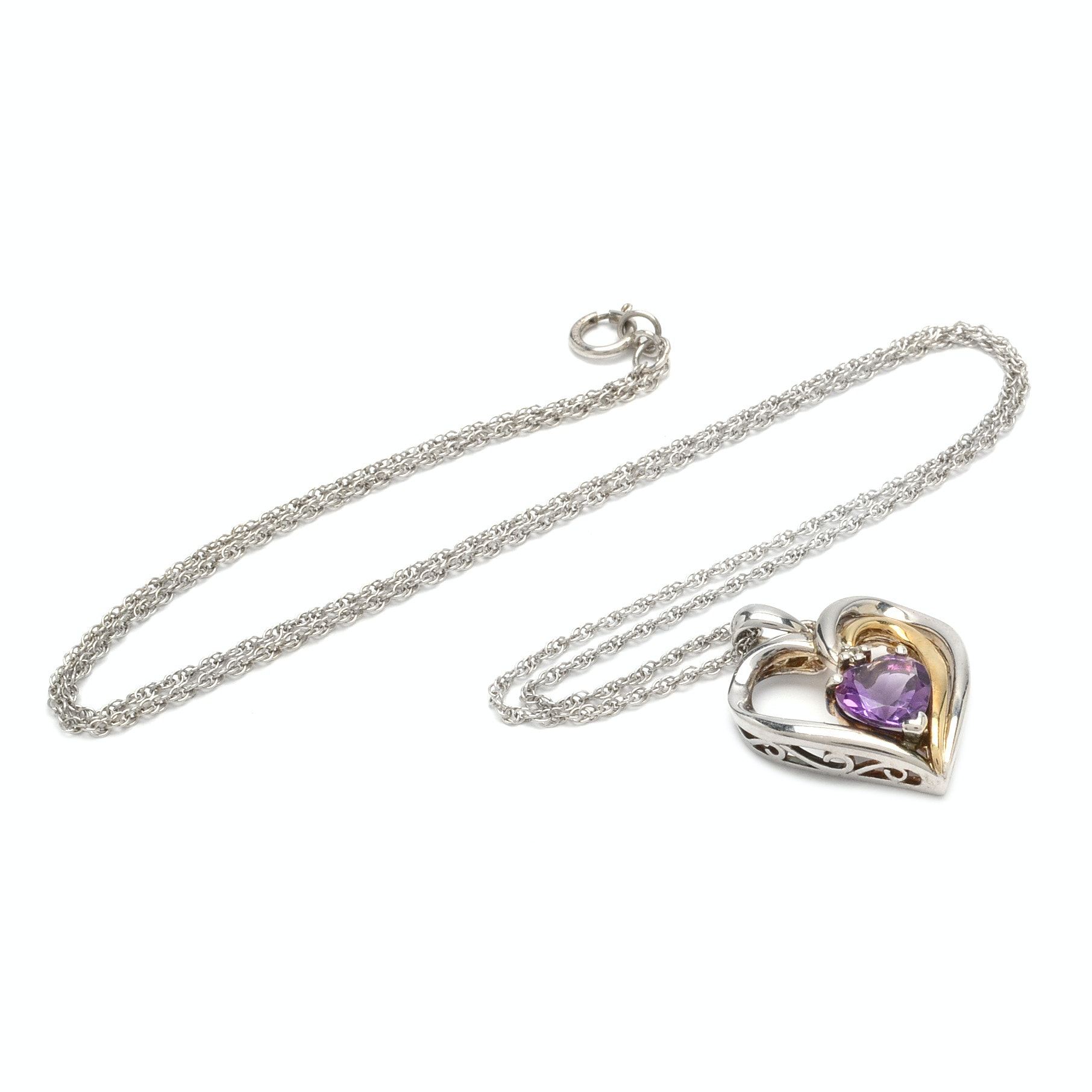 Alwand Vahan Sterling Silver Heart Shaped Amethyst and Diamond Pendant Necklace