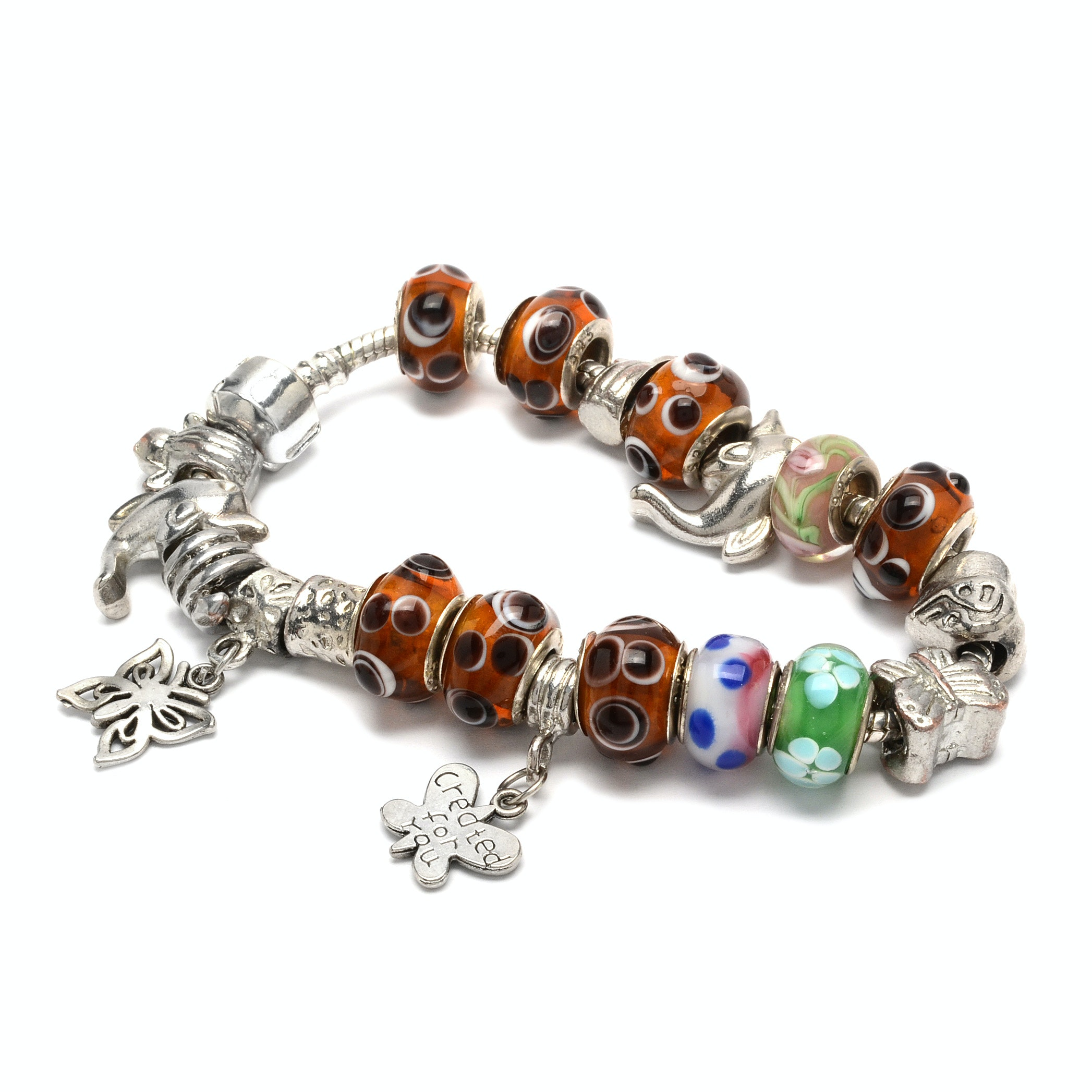 Slide Charm Bracelet and Charms Including Sterling Silver Trimmed Lampwork Beads