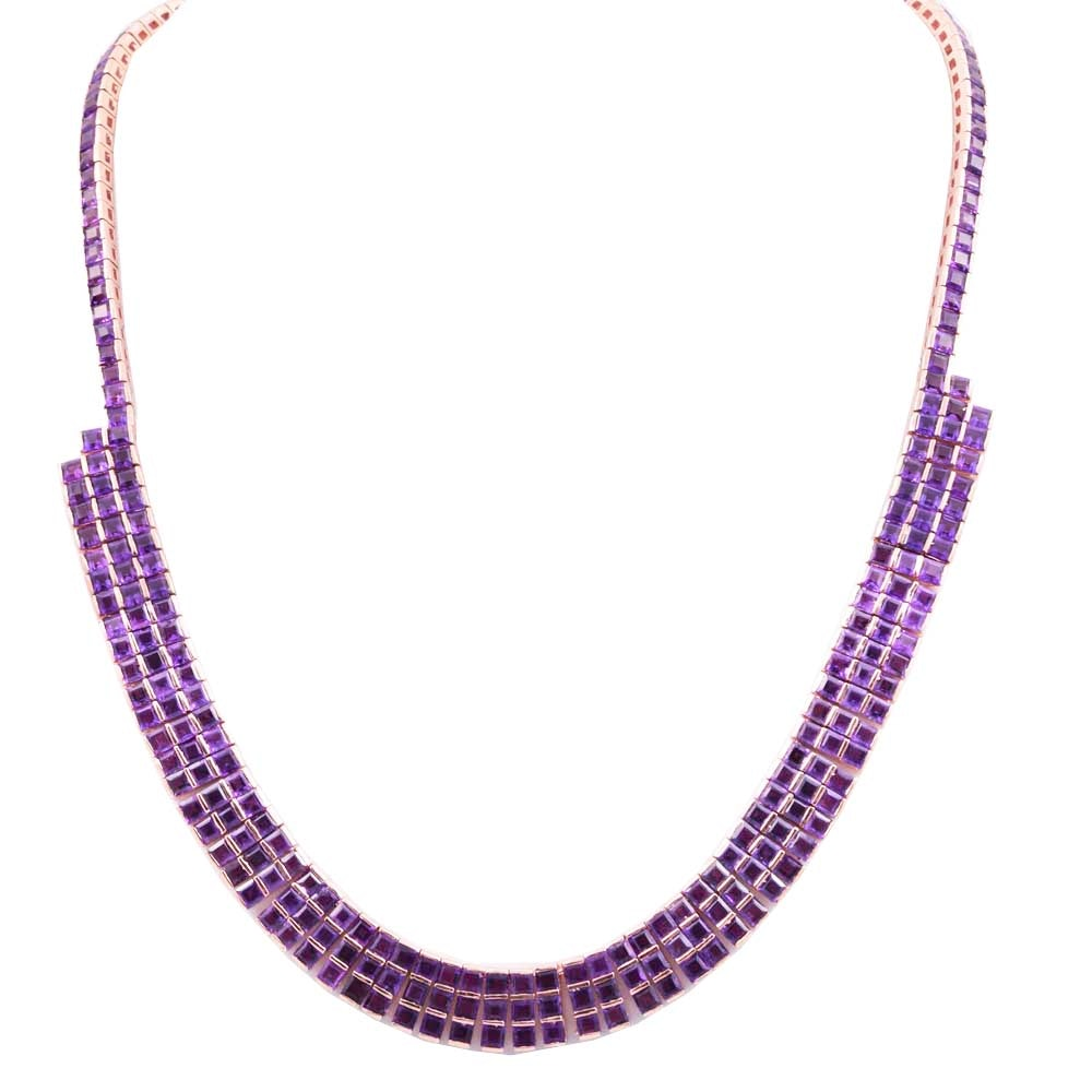 Rose Gold Wash on Sterling Silver and 37.10 CTW Amethyst Bib Necklace