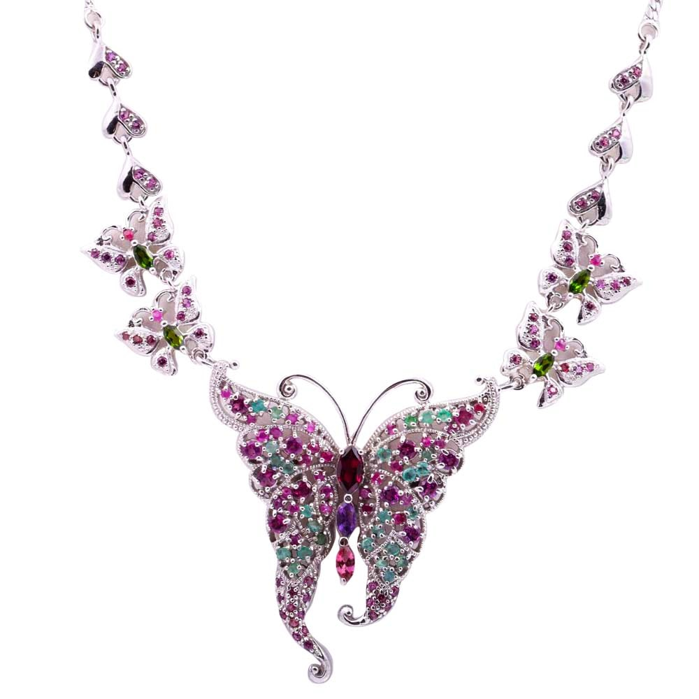 Sterling Silver and Multi-Gemstone Butterfly Necklace
