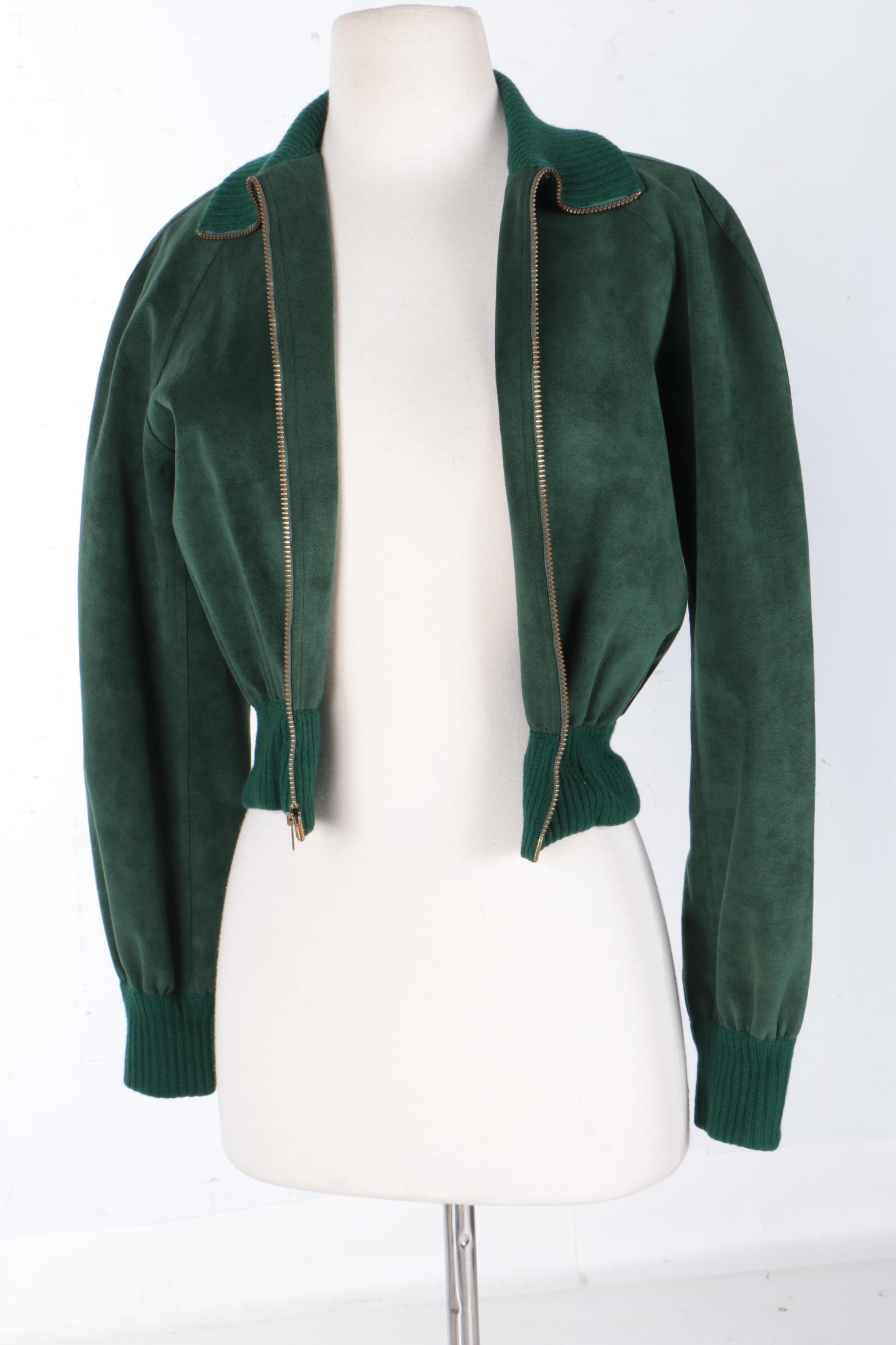 Women's Halston Vintage Green Suede and Ribbed Knit Bomber Jacket