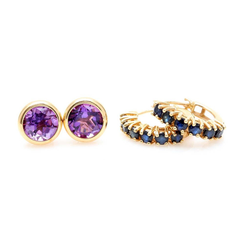 14K Yellow Gold Sapphire and Amethyst Earrings