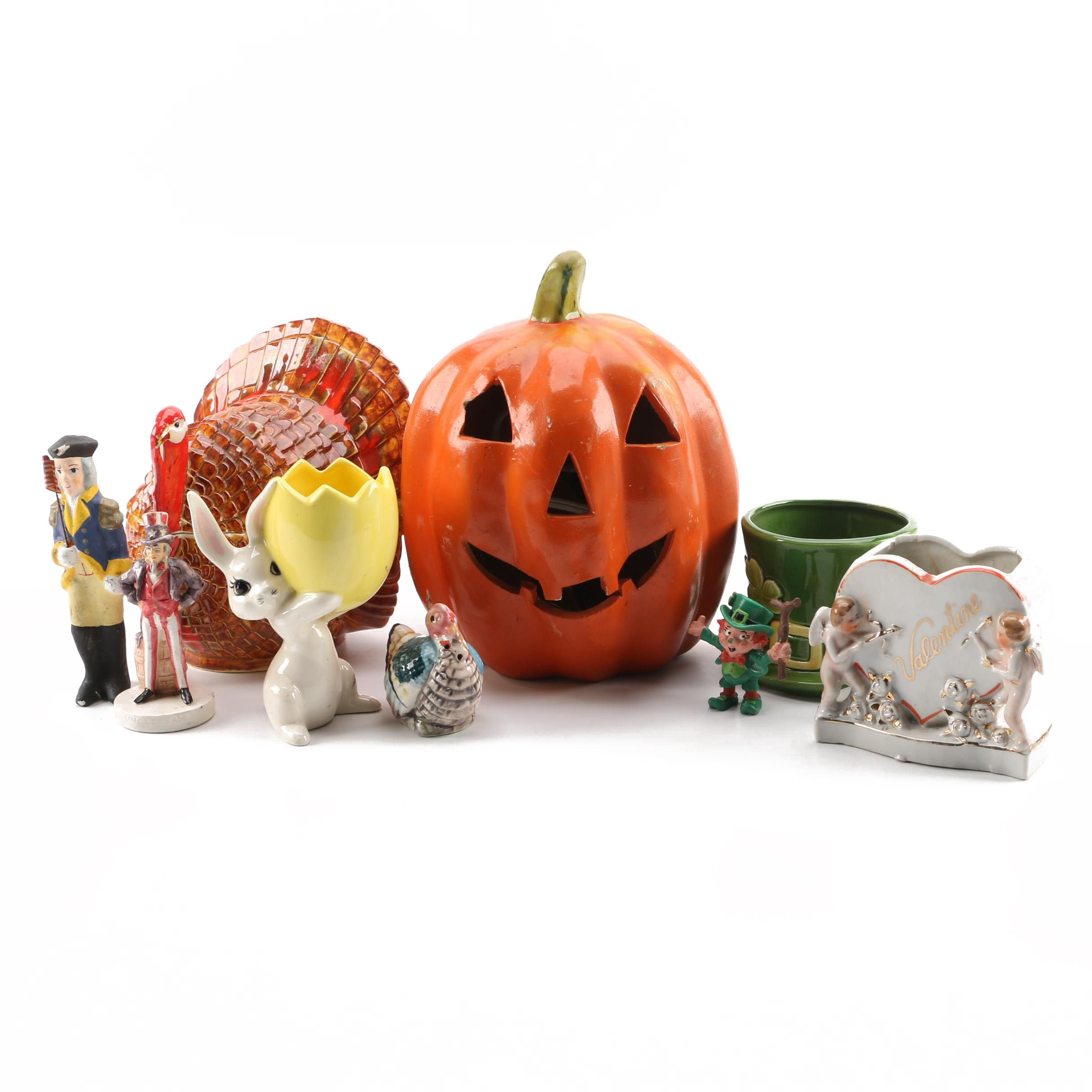 Holiday Ceramic Decor for Valentines, St Patrick's, Easter, 4th of July & Fall