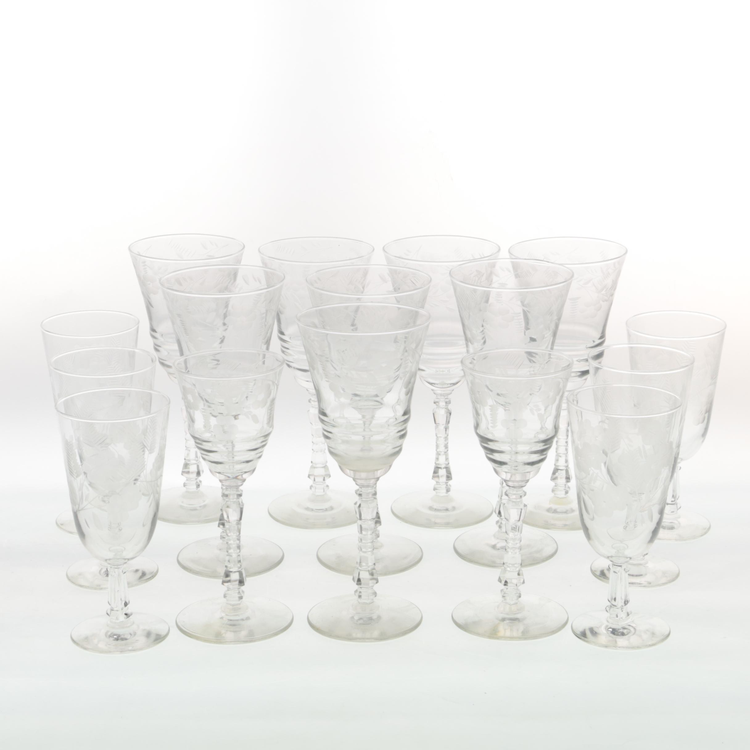 Collection of Seventeen Pieces of Glass Stemware