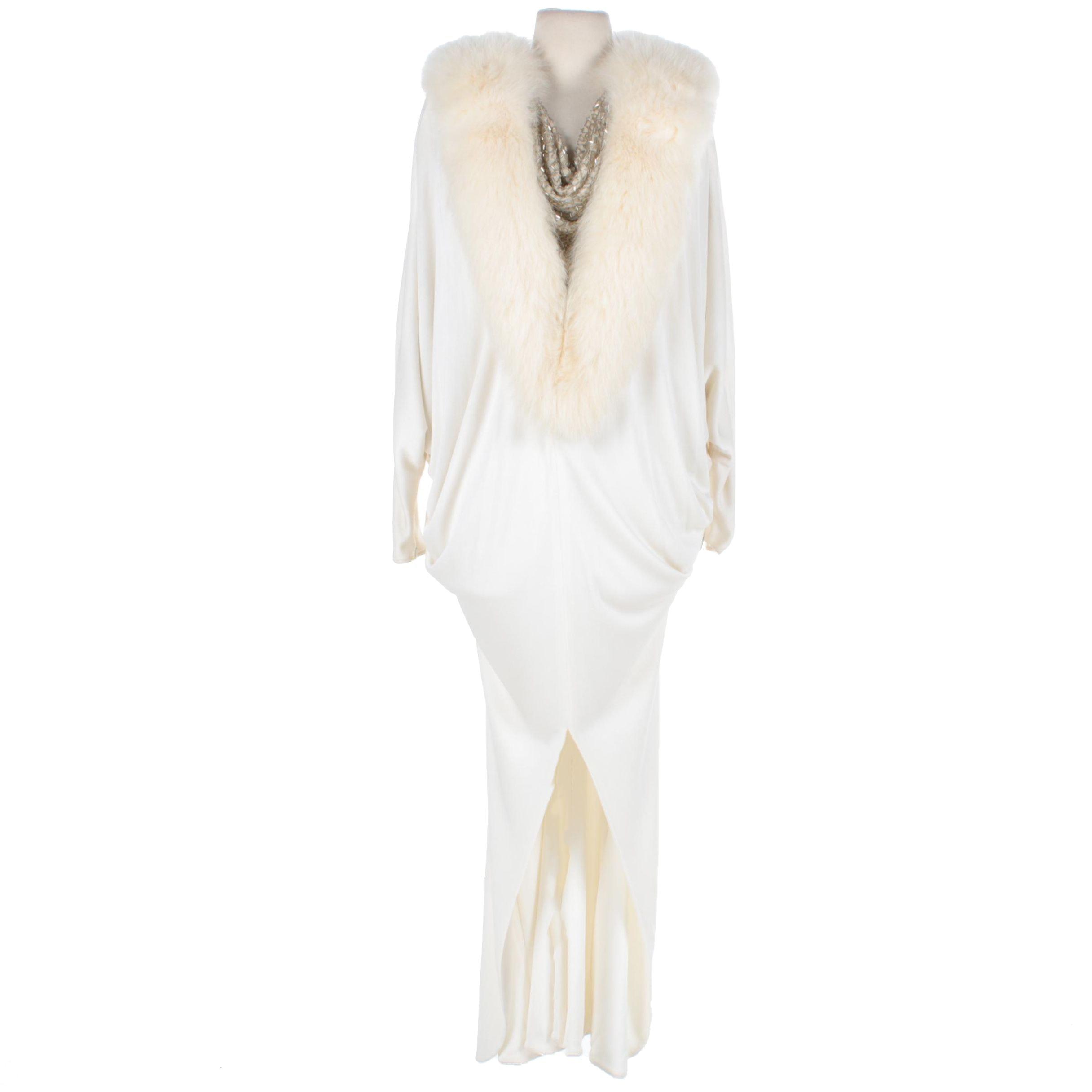 1970s Vintage Faux Fur Beaded Gown