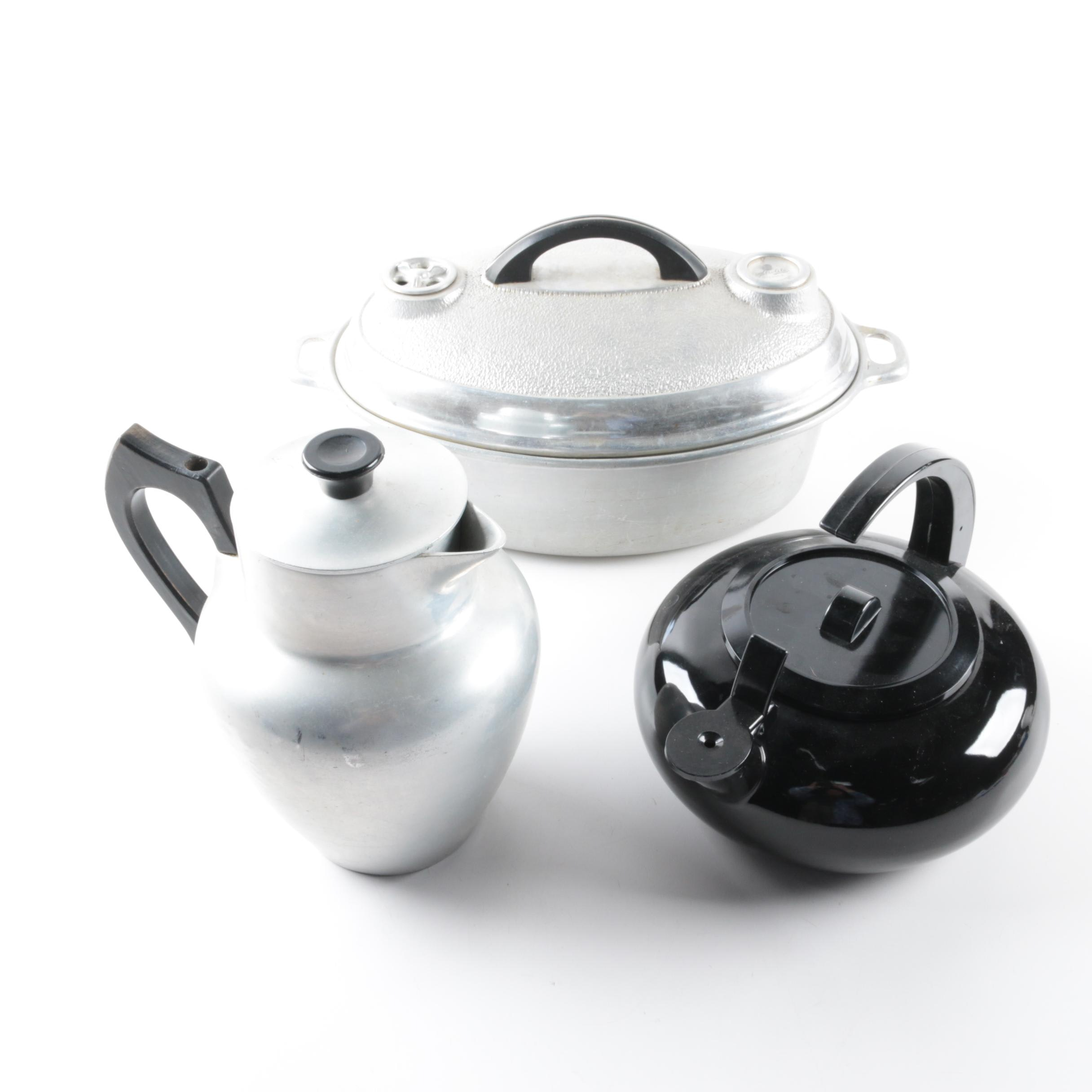 Metrolite Ware Covered Metal Pan and Metal Teapots