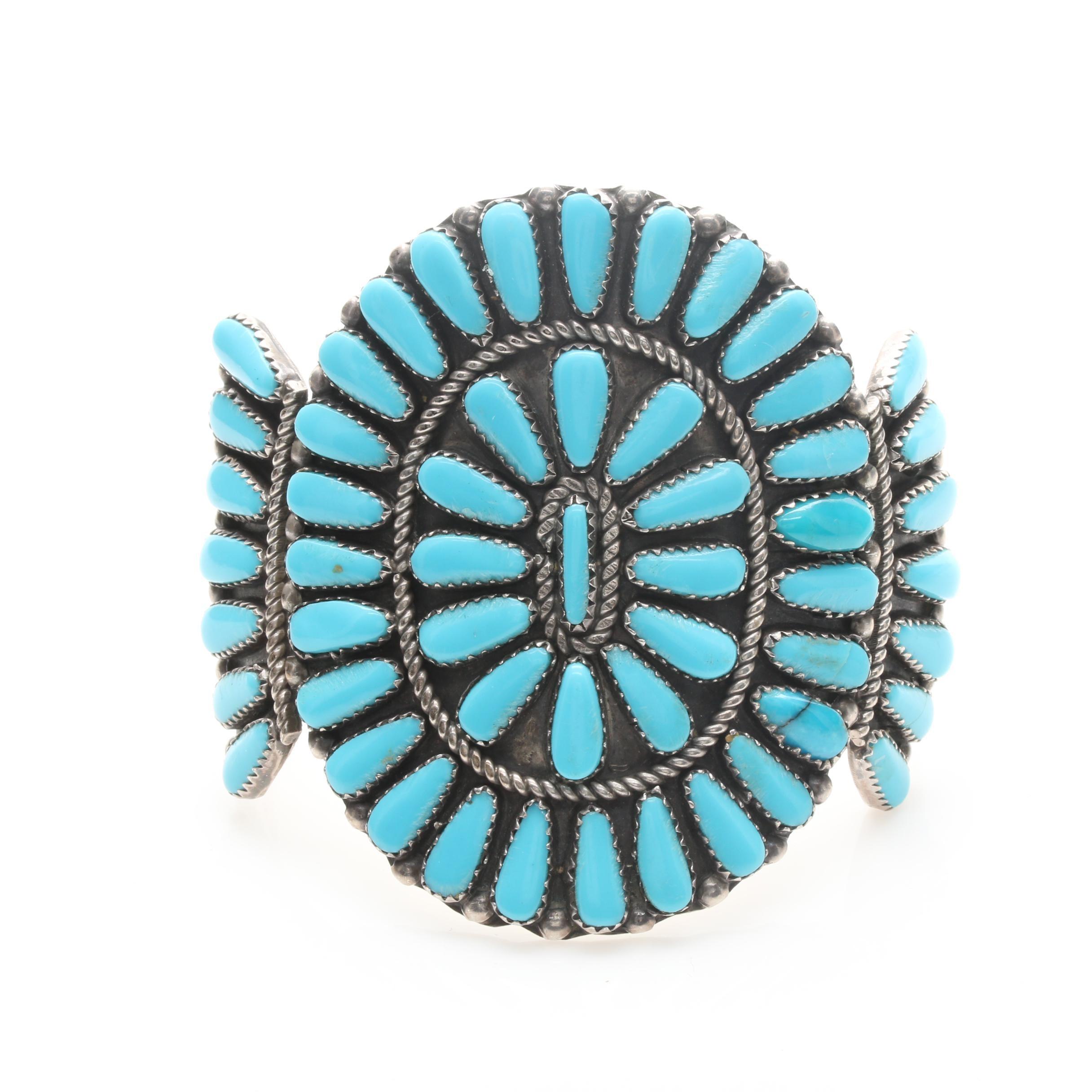John Jim Billie Navajo Diné Sterling Silver Stabilized Turquoise Cuff Bracelet