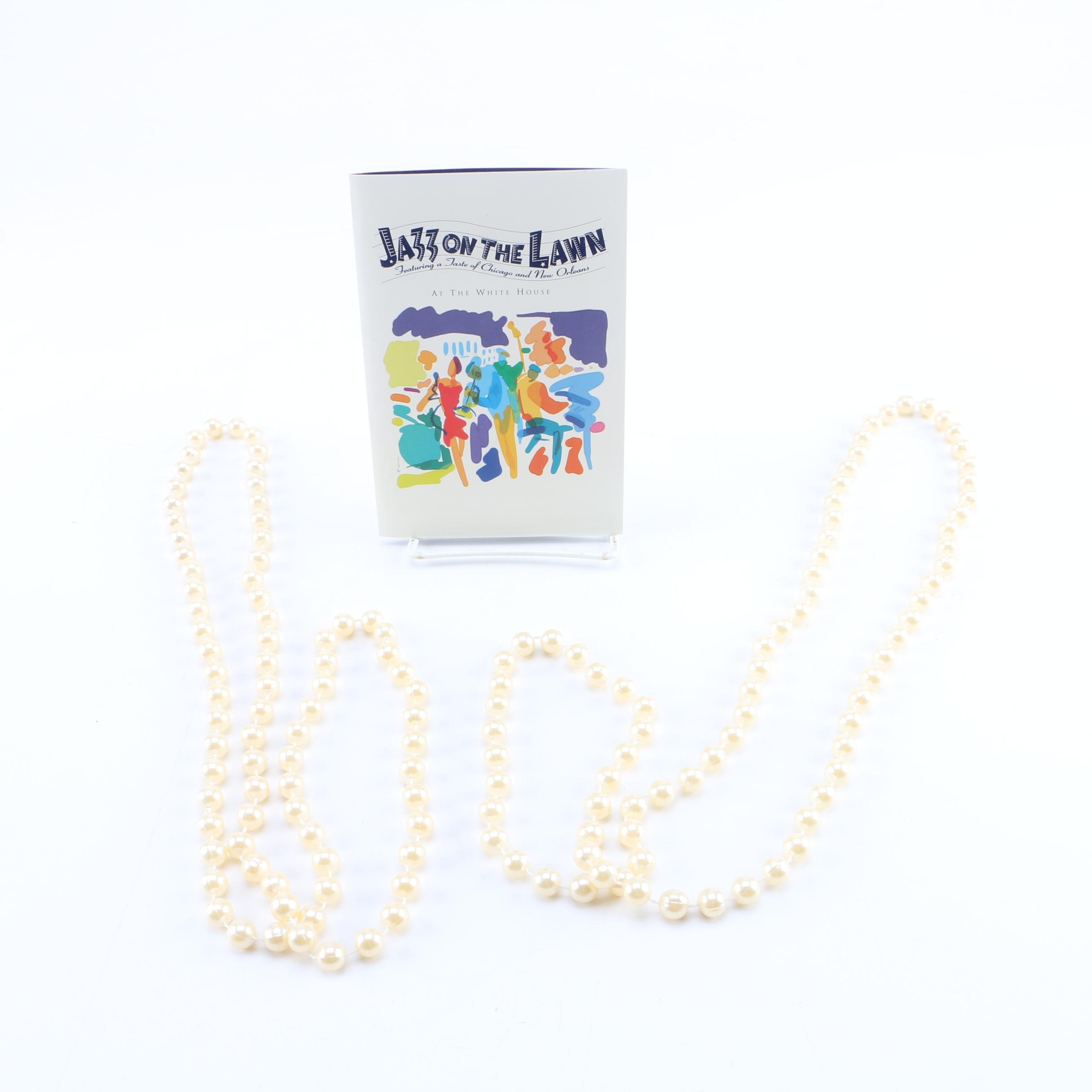 "White House ""Jazz On The Lawn"" Performance Invitation and Beads"
