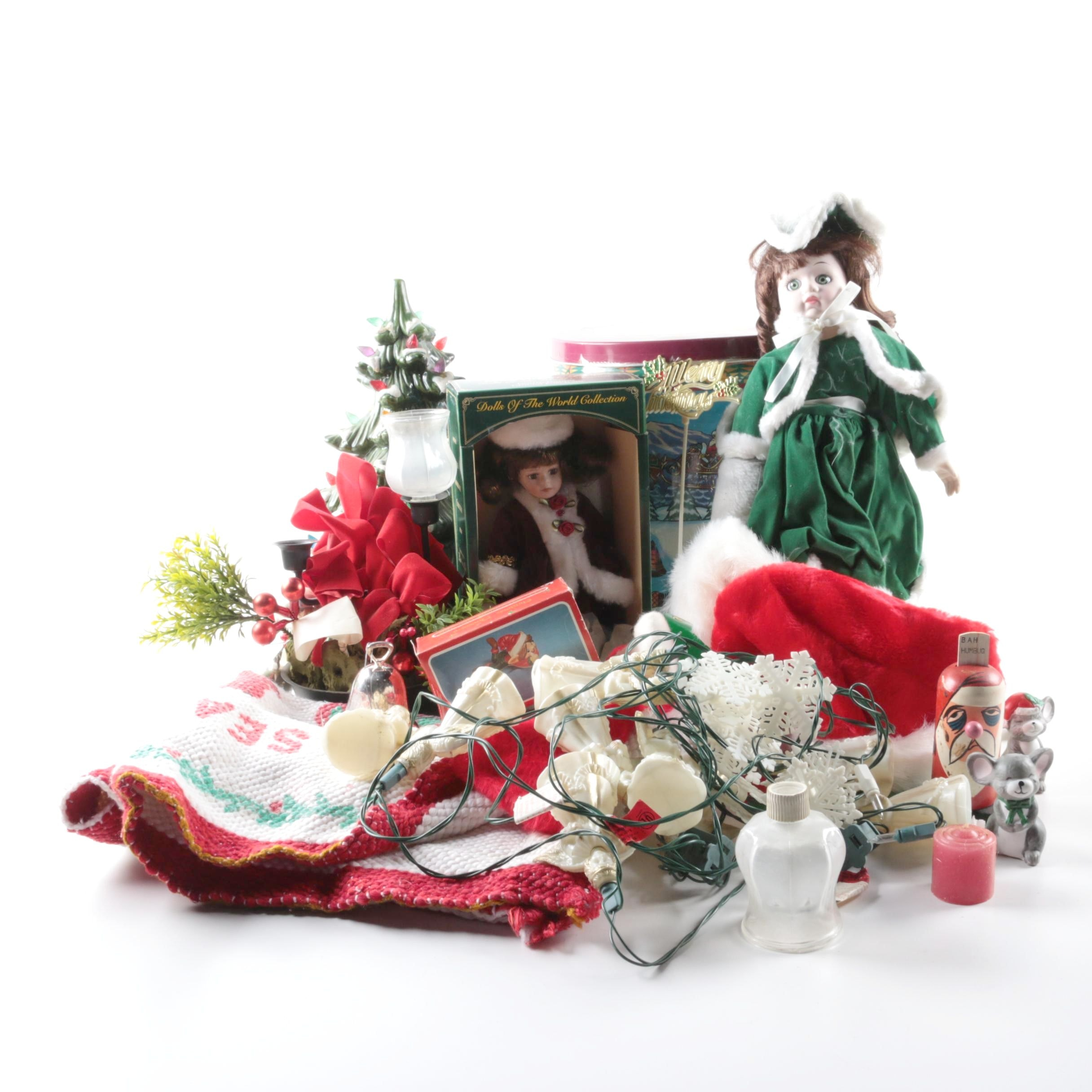 "Ceramic Christmas Tree with ""Dolls of The World"" Dolls and More"