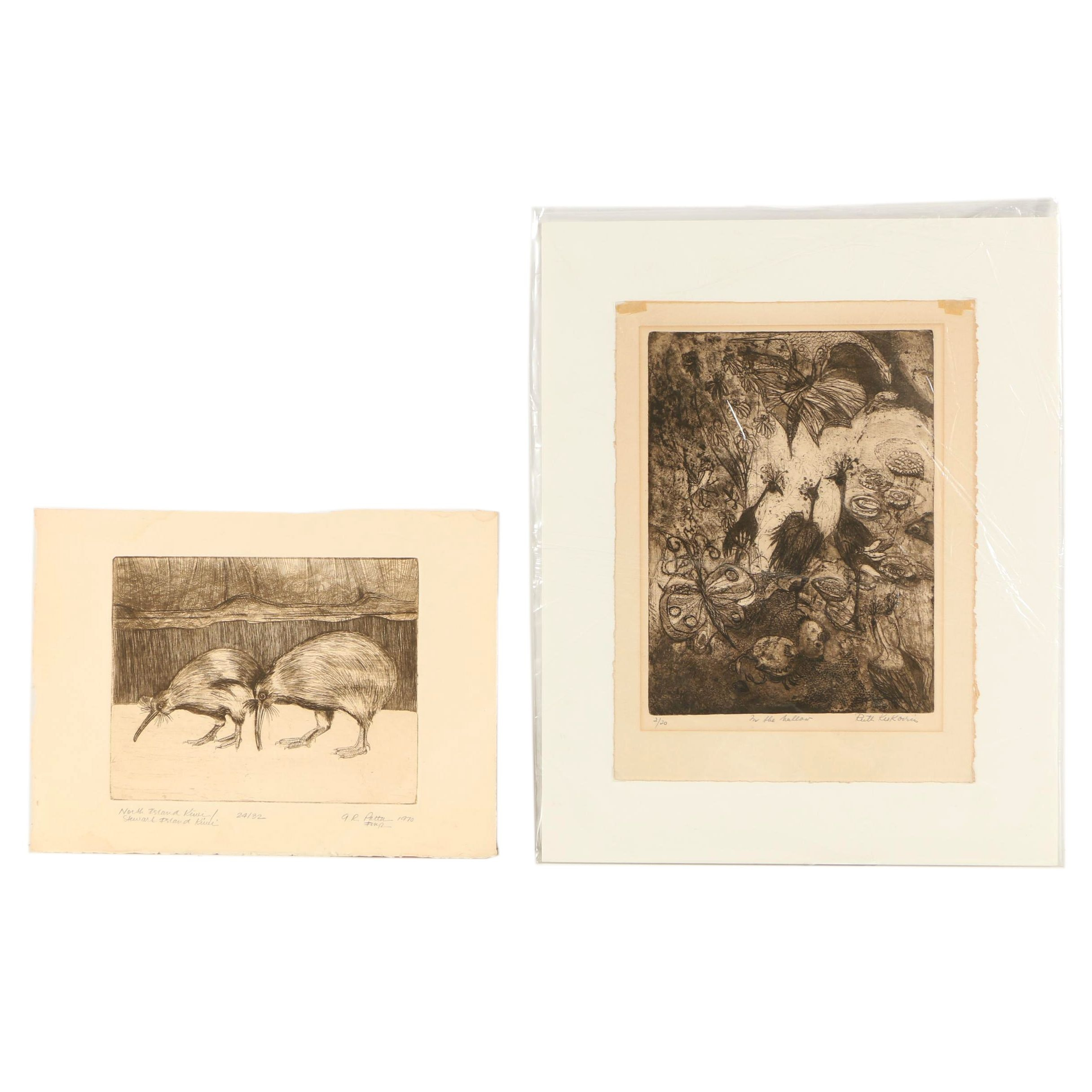 Etchings Featuring Kiwis and Abstract Composition