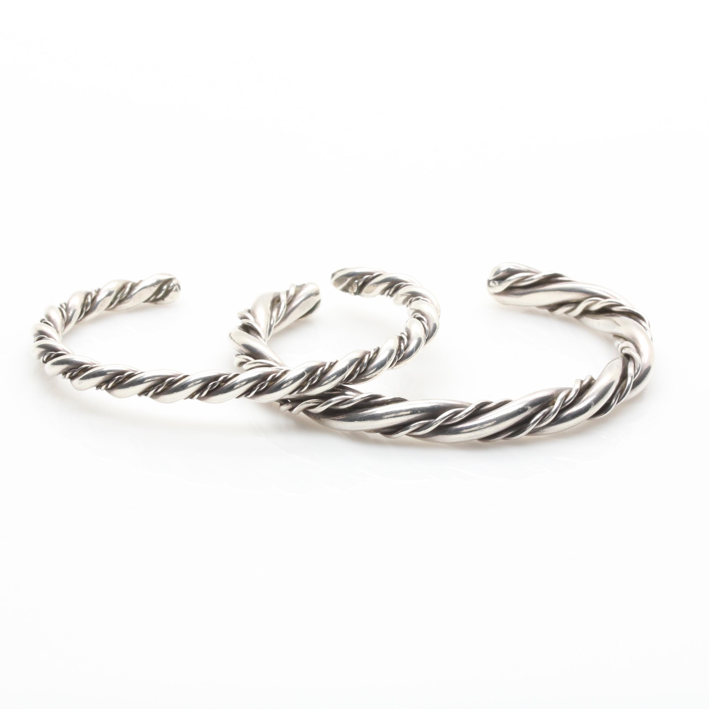 Sterling Silver Rope Twist Cuff Bracelets