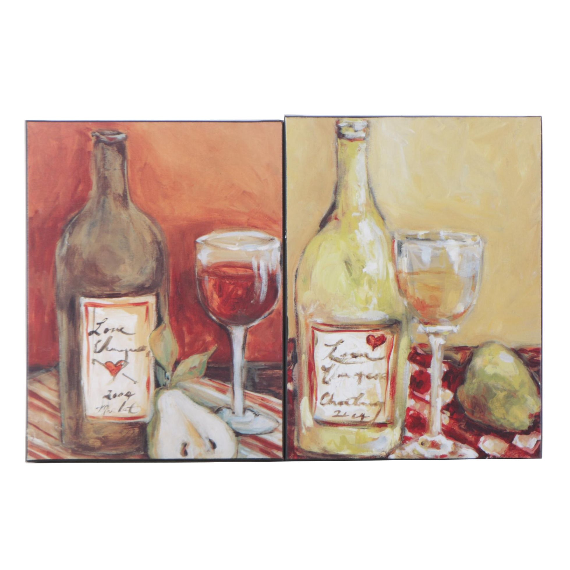 Pair of Wine Themed Offset Lithographs on Canvas